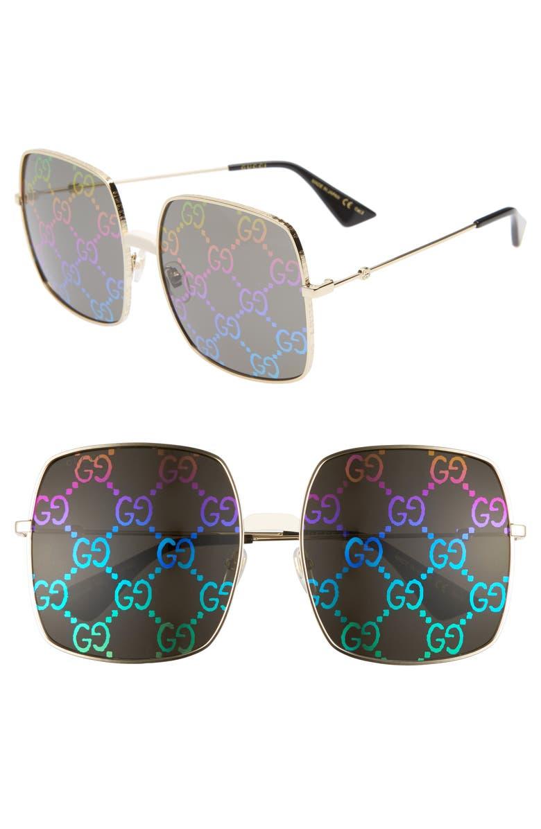 GUCCI 60mm Square Sunglasses, Main, color, 712