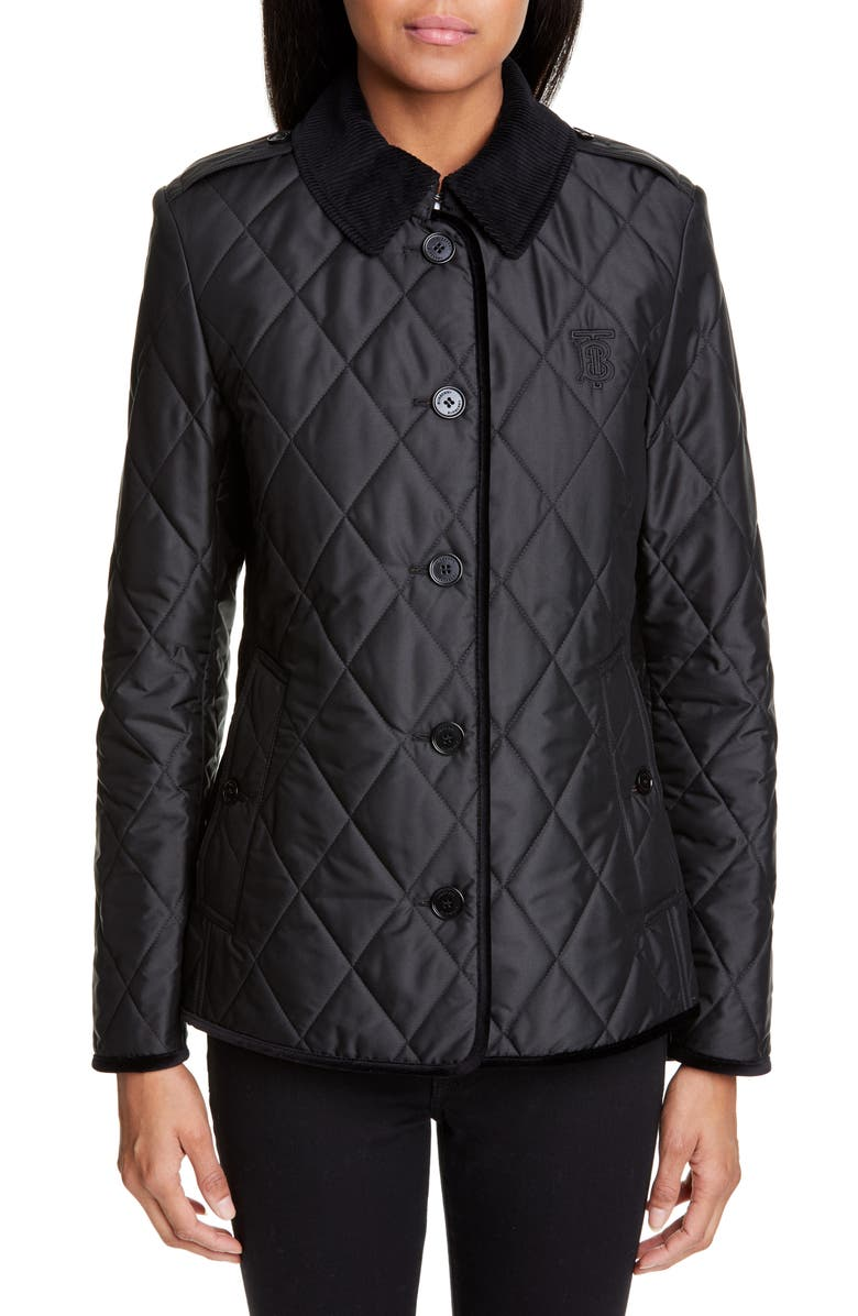BURBERRY Fernhill Quilted Coat, Main, color, BLACK