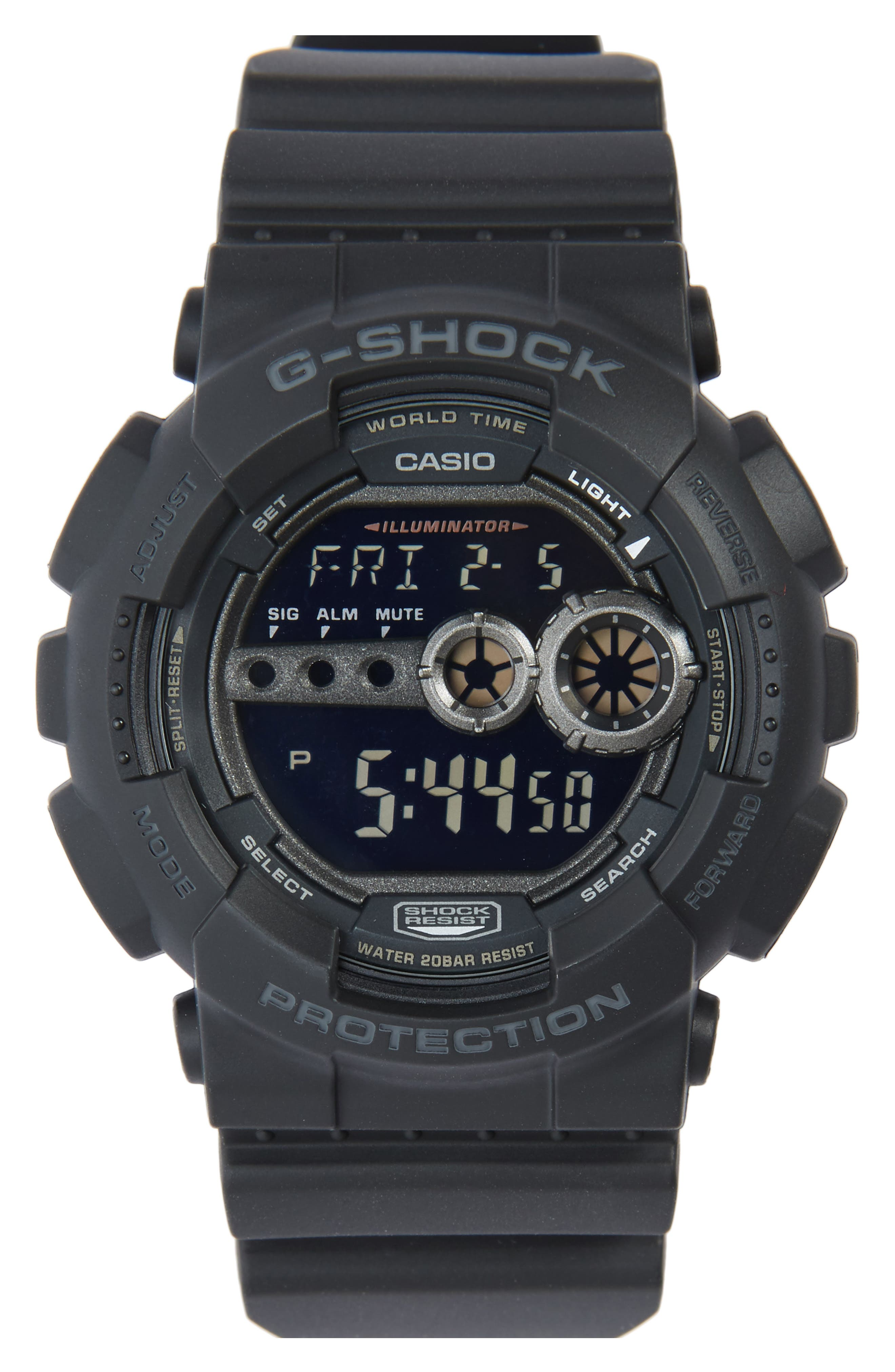 ,                             G-Shock 'Super Luminosity' Digital Watch, 48mm,                             Main thumbnail 1, color,                             BLACK