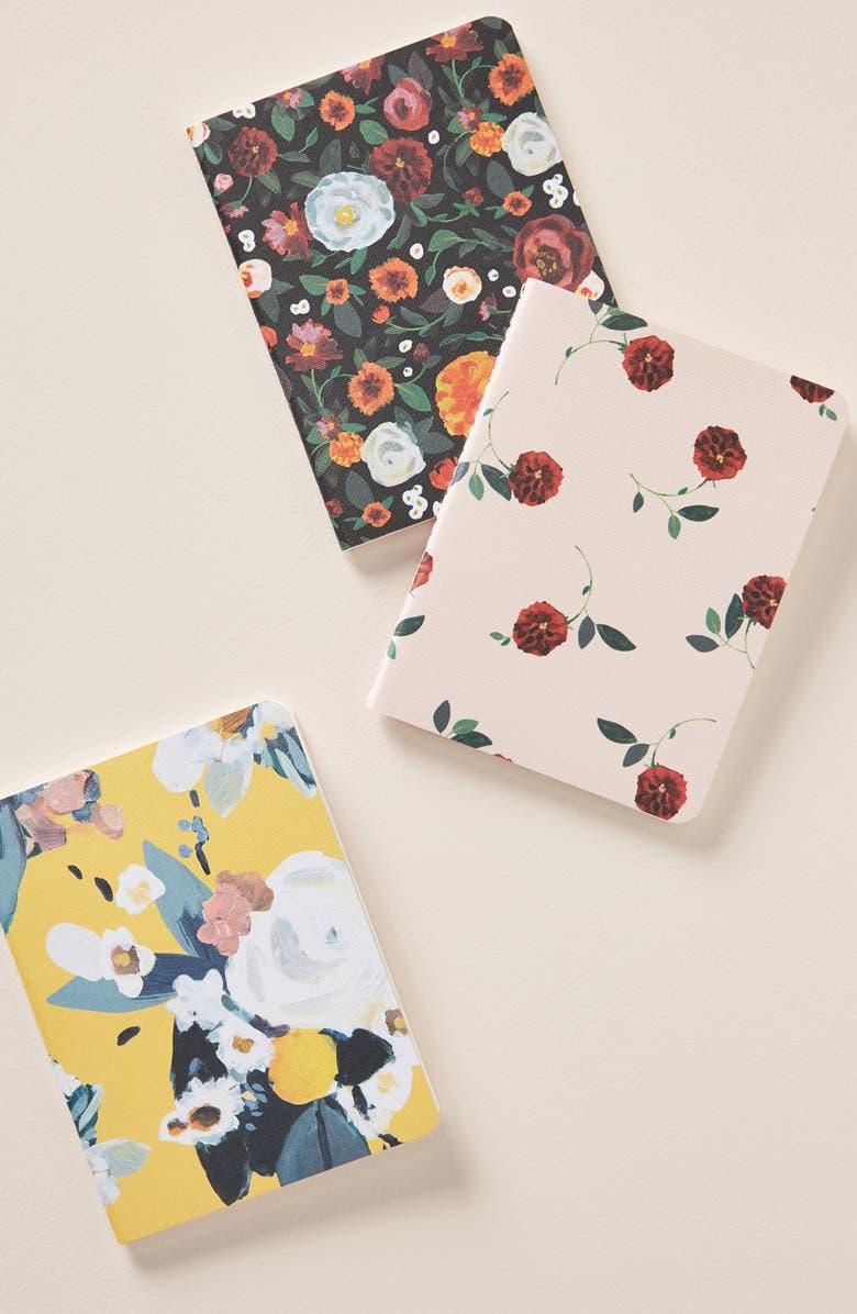 ANTHROPOLOGIE Lena Set of 3 Journals, Main, color, BLUE