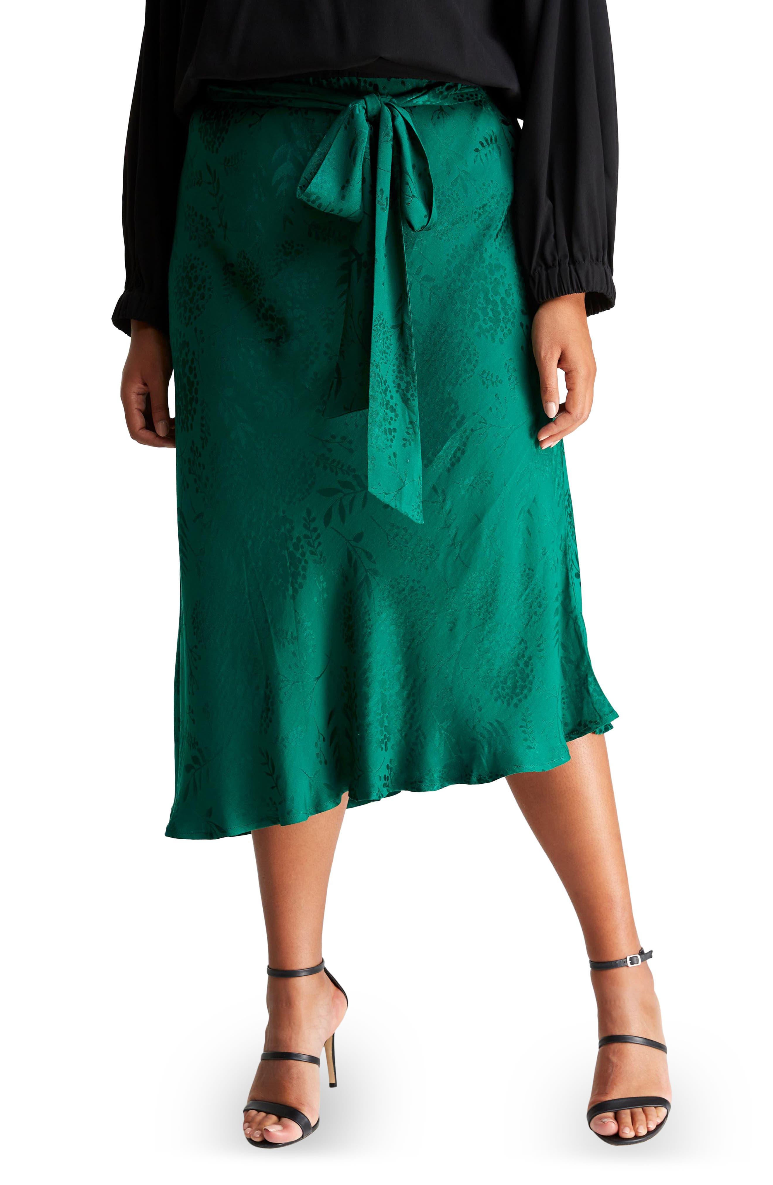Emerald Night Floral Jacquard Skirt