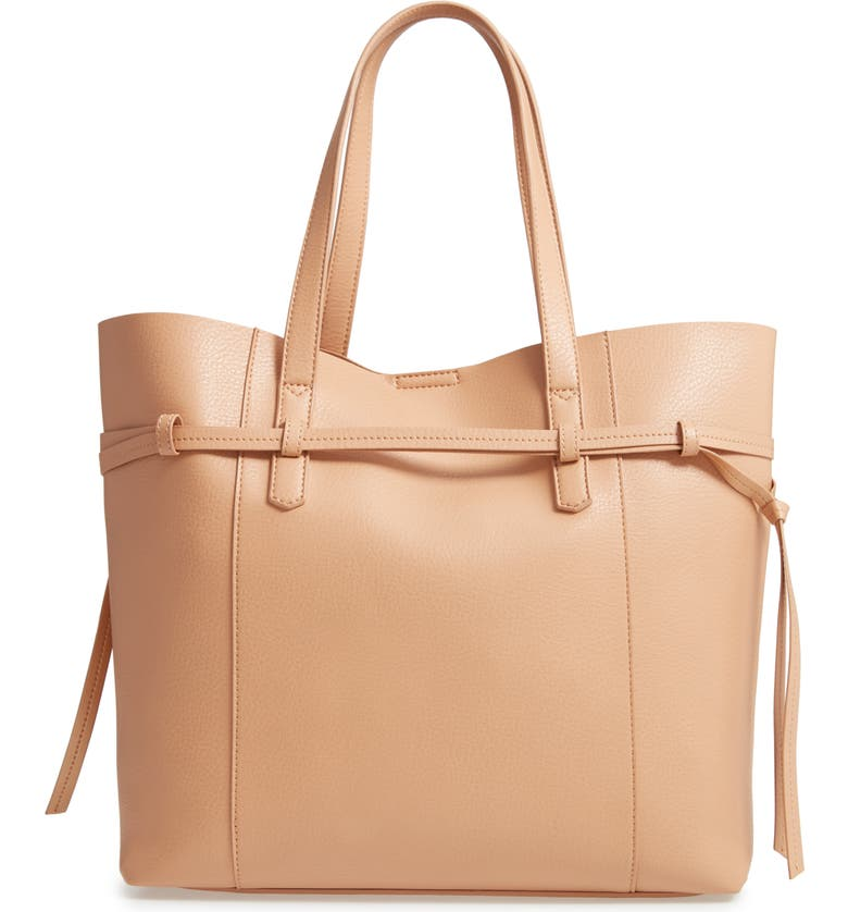 MALIBU SKYE Faux Leather Carryall Tote, Main, color, TAN/ ROSE GOLD