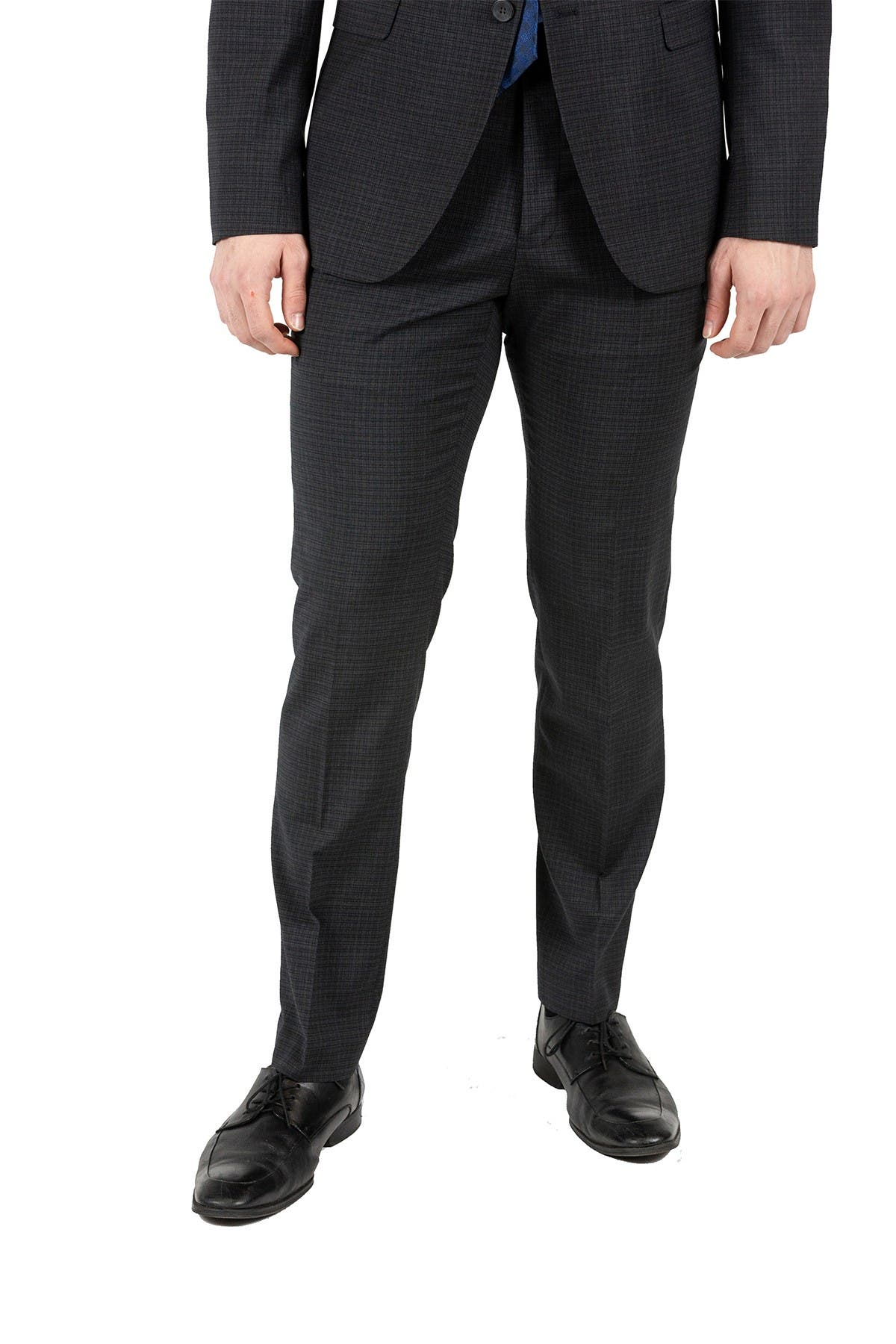 Image of Original Penguin Black Sharkskin Slim Fit Wool Blend Suit Separates Trousers