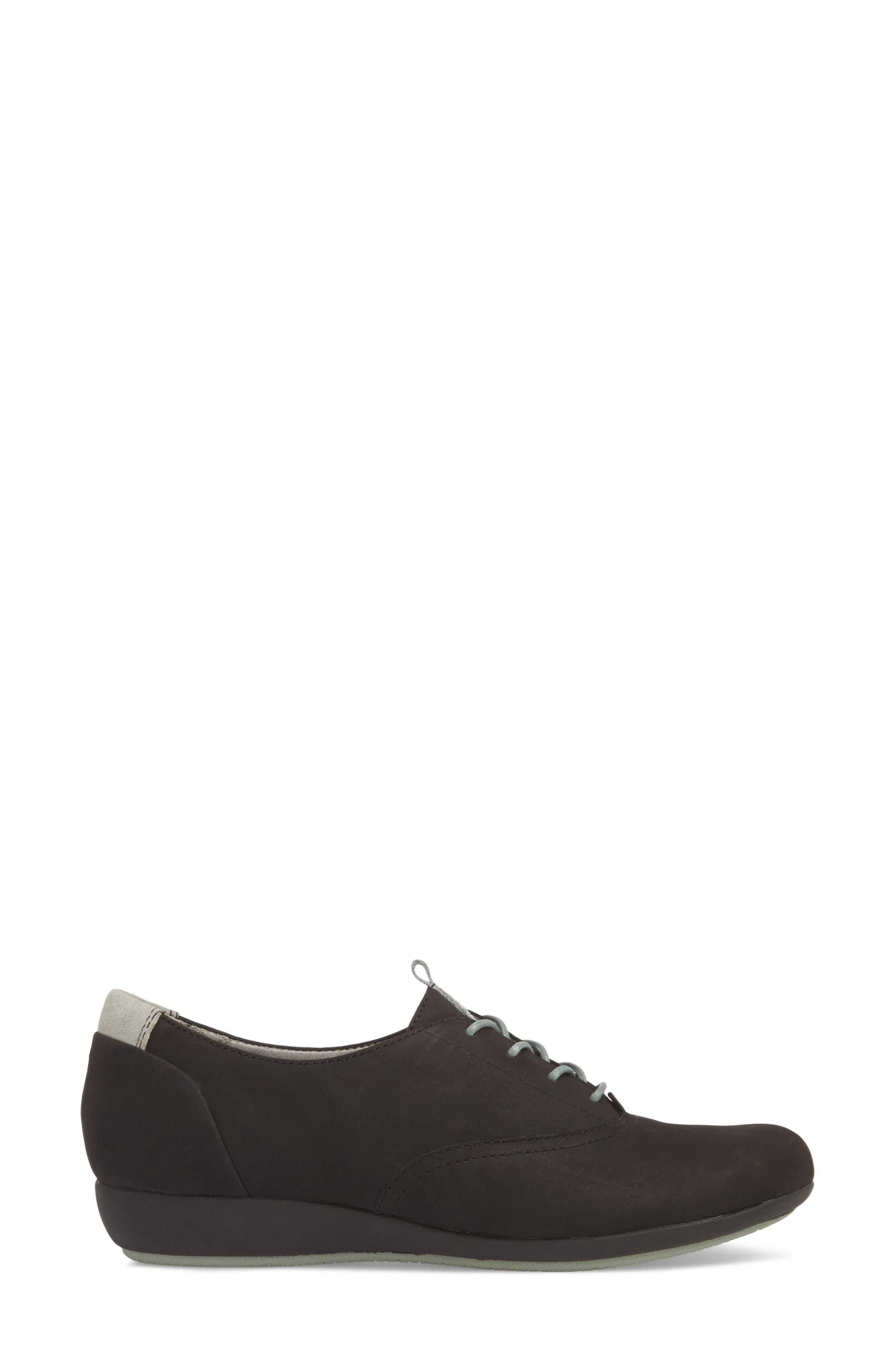 ,                             Kimi Wedge Sneaker,                             Alternate thumbnail 3, color,                             BLACK MILLED NUBUCK LEATHER