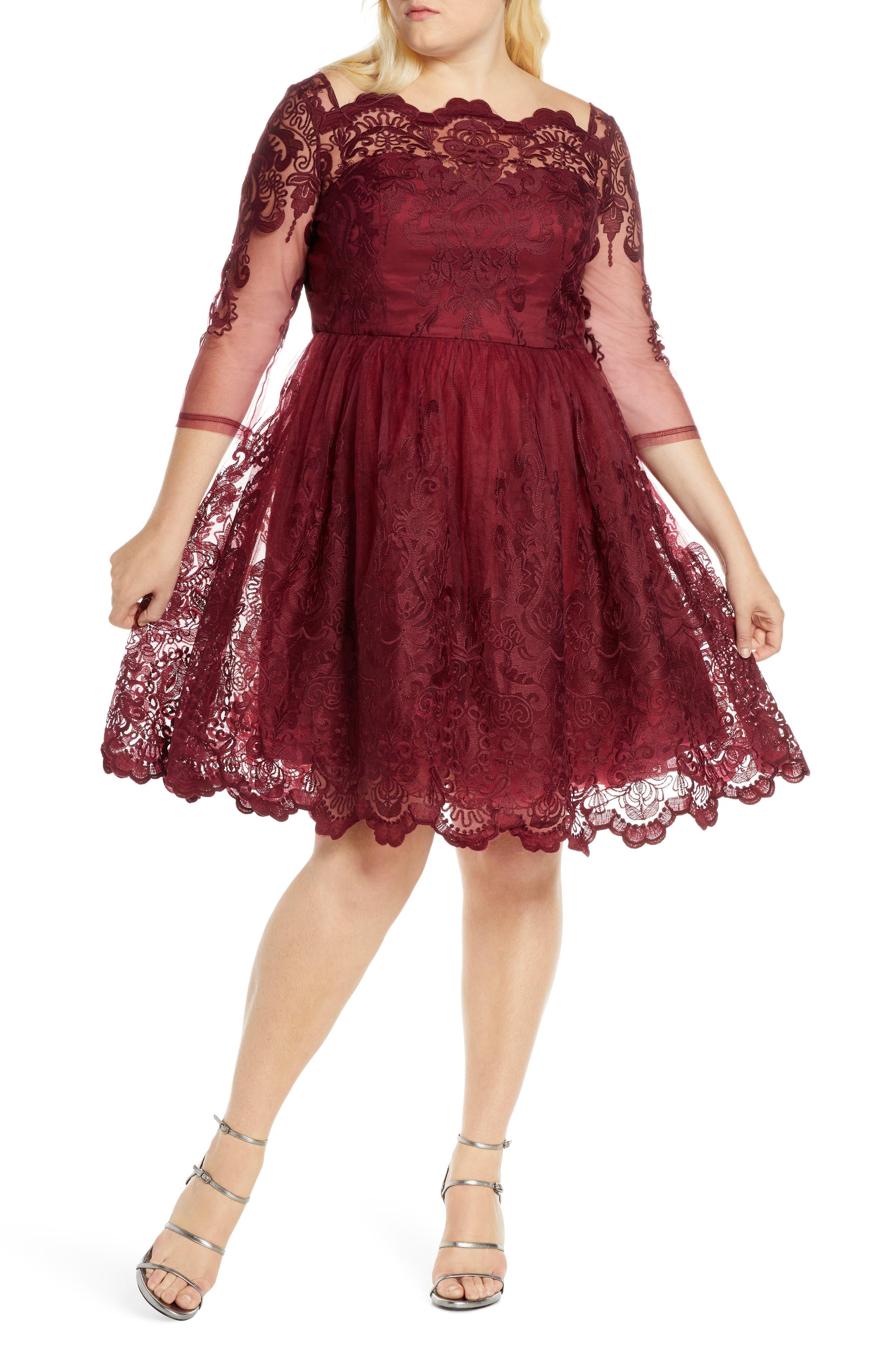 1950s Plus Size Dresses, Swing Dresses Plus Size Womens Chi Chi London Rosalita Lace Fit  Flare Dress $140.00 AT vintagedancer.com