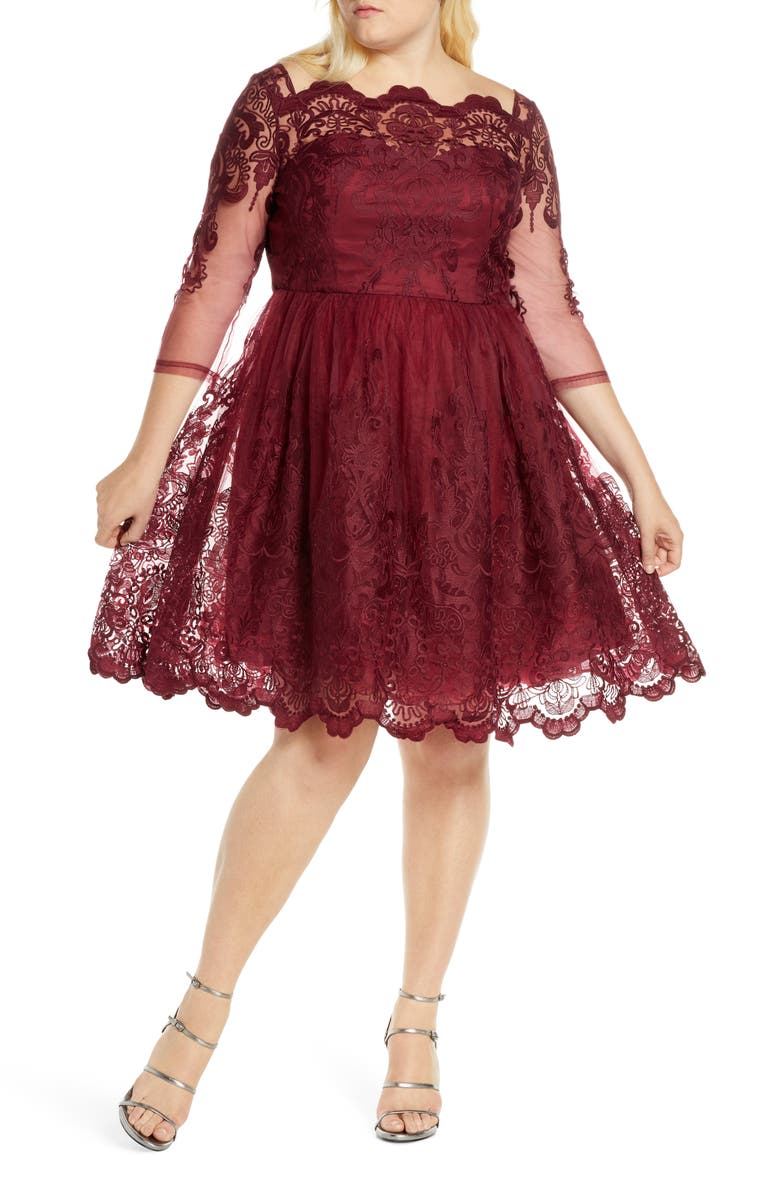 CHI CHI LONDON Rosalita Lace Fit & Flare Dress, Main, color, 607