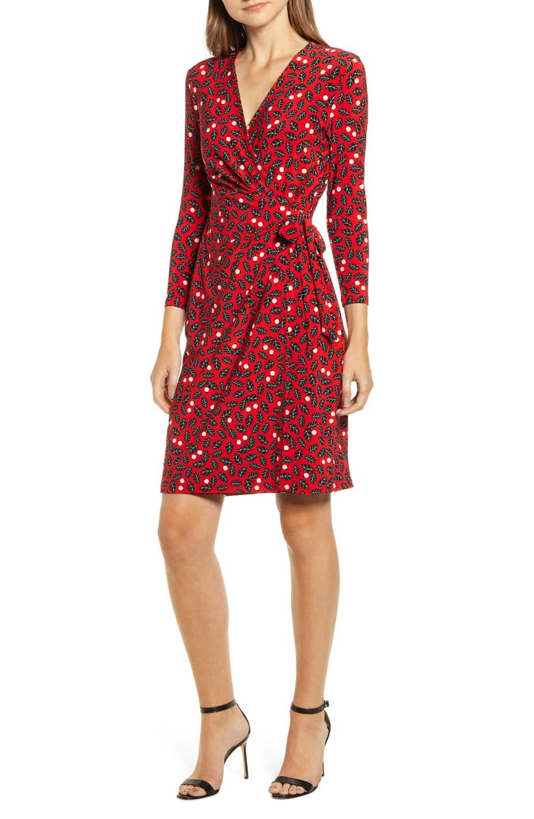 ANNE KLEIN Muir Woods Faux Wrap Dress, Main, color, PINOT/ ANNE BLACK COMBO