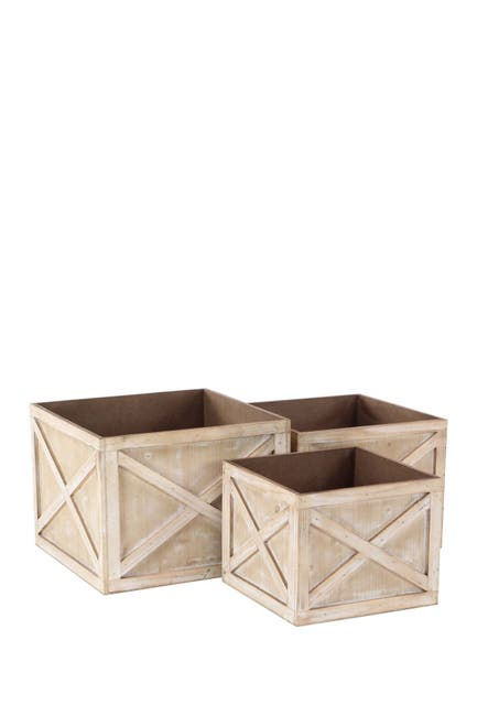 Image of Willow Row Brown Wood Planter - Set of 3