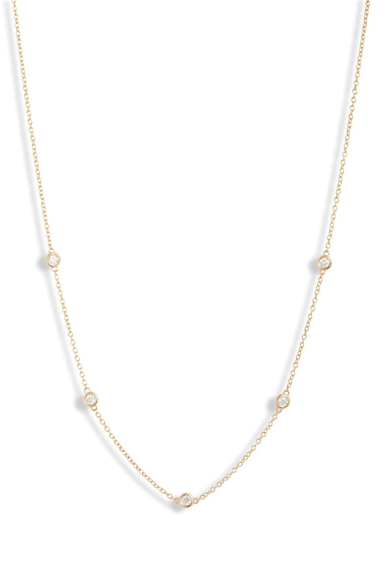 ZOË CHICCO Diamond Station Choker Necklace, Main, color, YELLOW GOLD