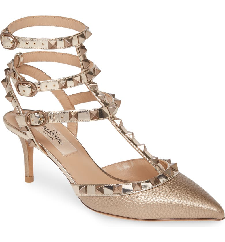 VALENTINO GARAVANI Rockstud T-Strap Pump, Main, color, GOLD