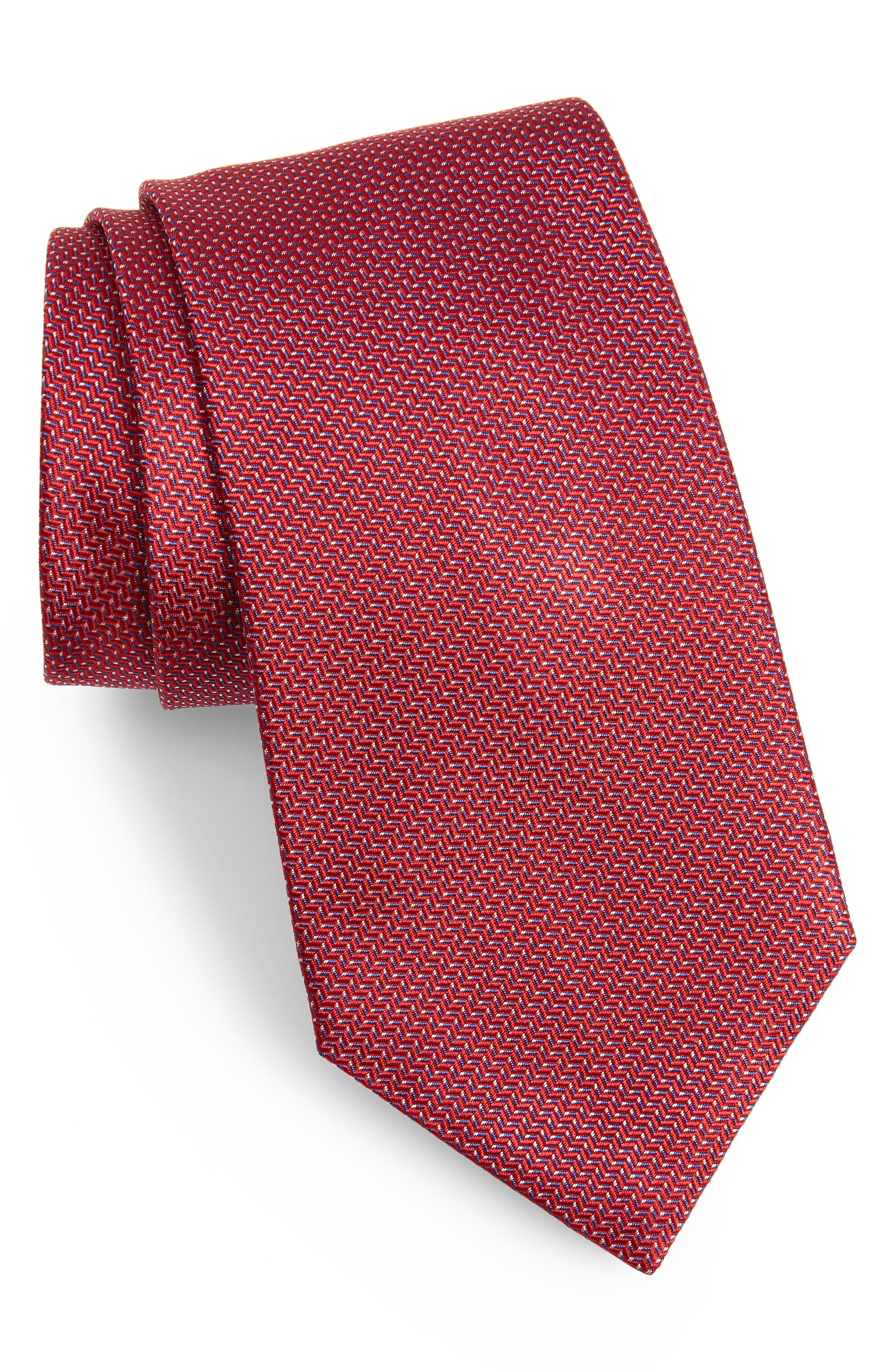 ,                             Solid Silk Tie,                             Main thumbnail 1, color,                             RED