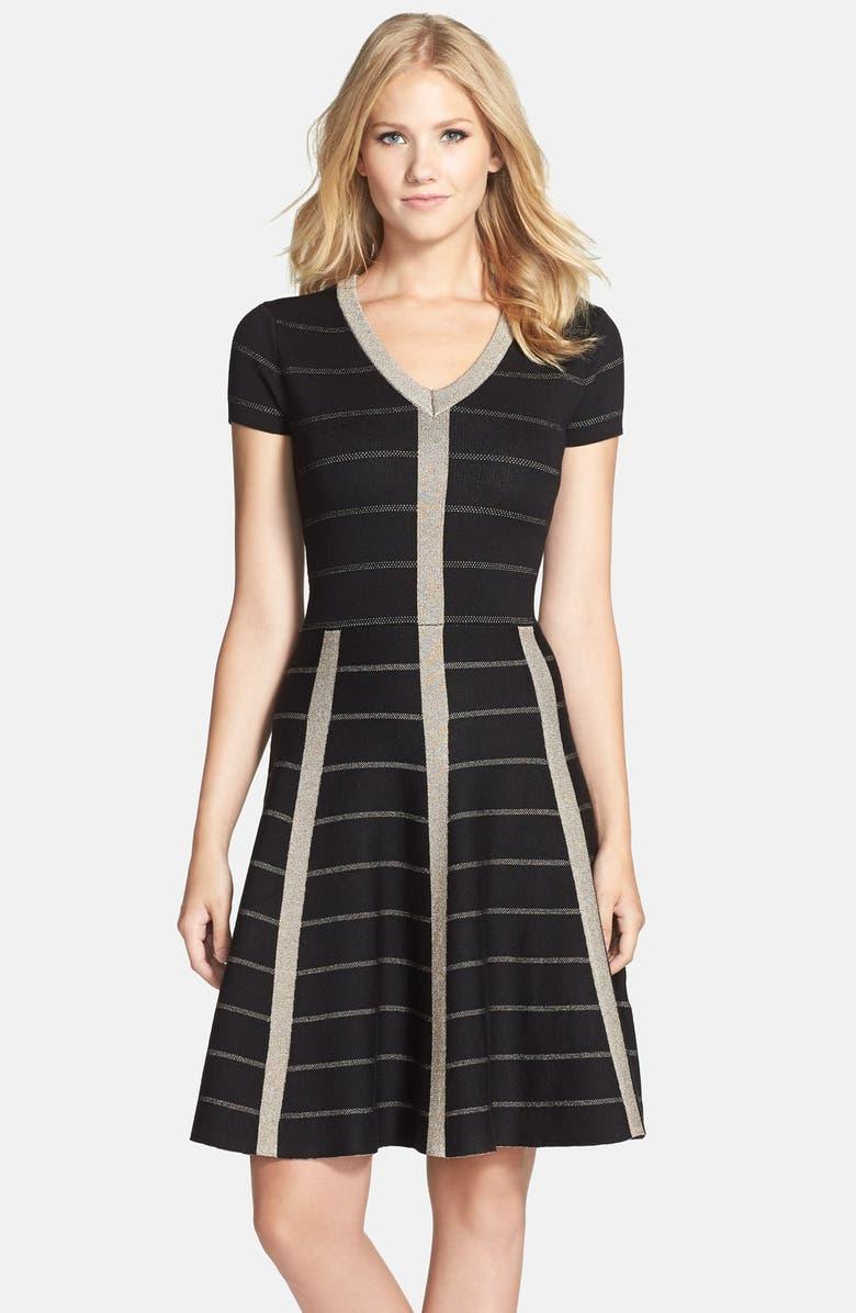 GABBY SKYE Metallic Fit & Flare Sweater Dress, Main, color, 001