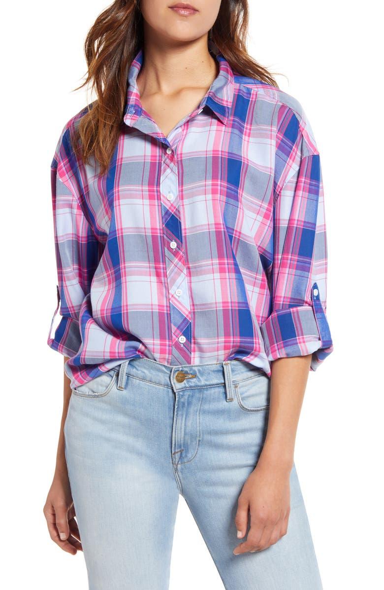 TOMMY BAHAMA Sombra Plaid Shirt, Main, color, SEABANK SKY