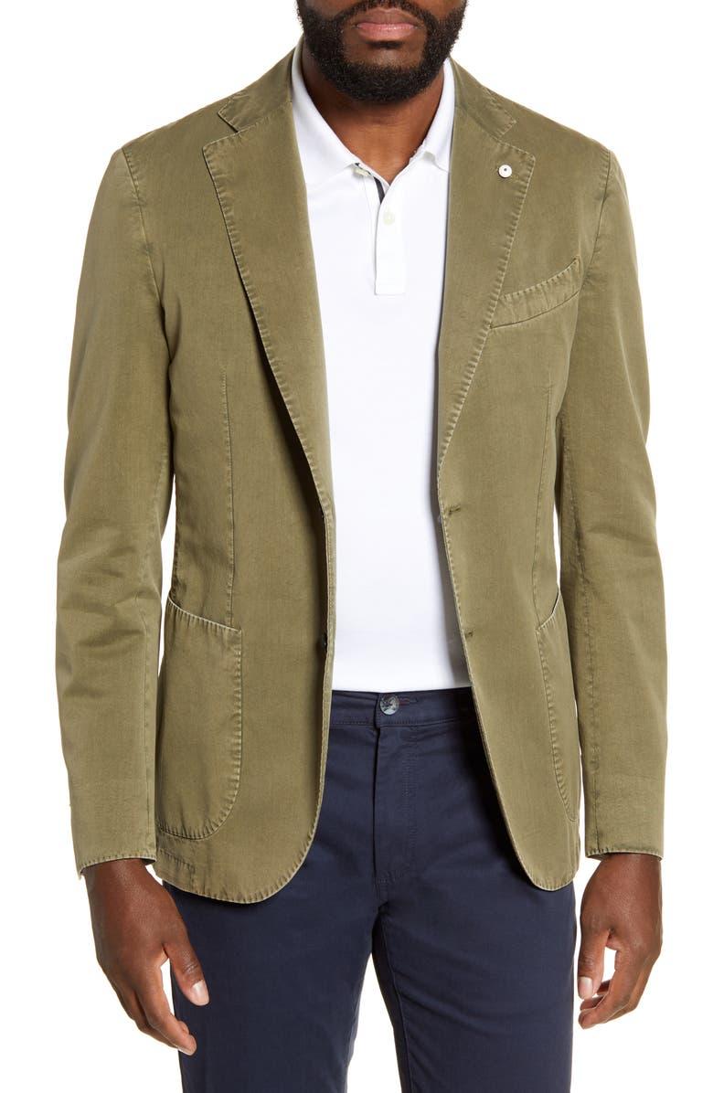 L.B.M. 1911 Trim Fit Cotton & Silk Sport Coat, Main, color, LIGHT/ PASTEL GREEN