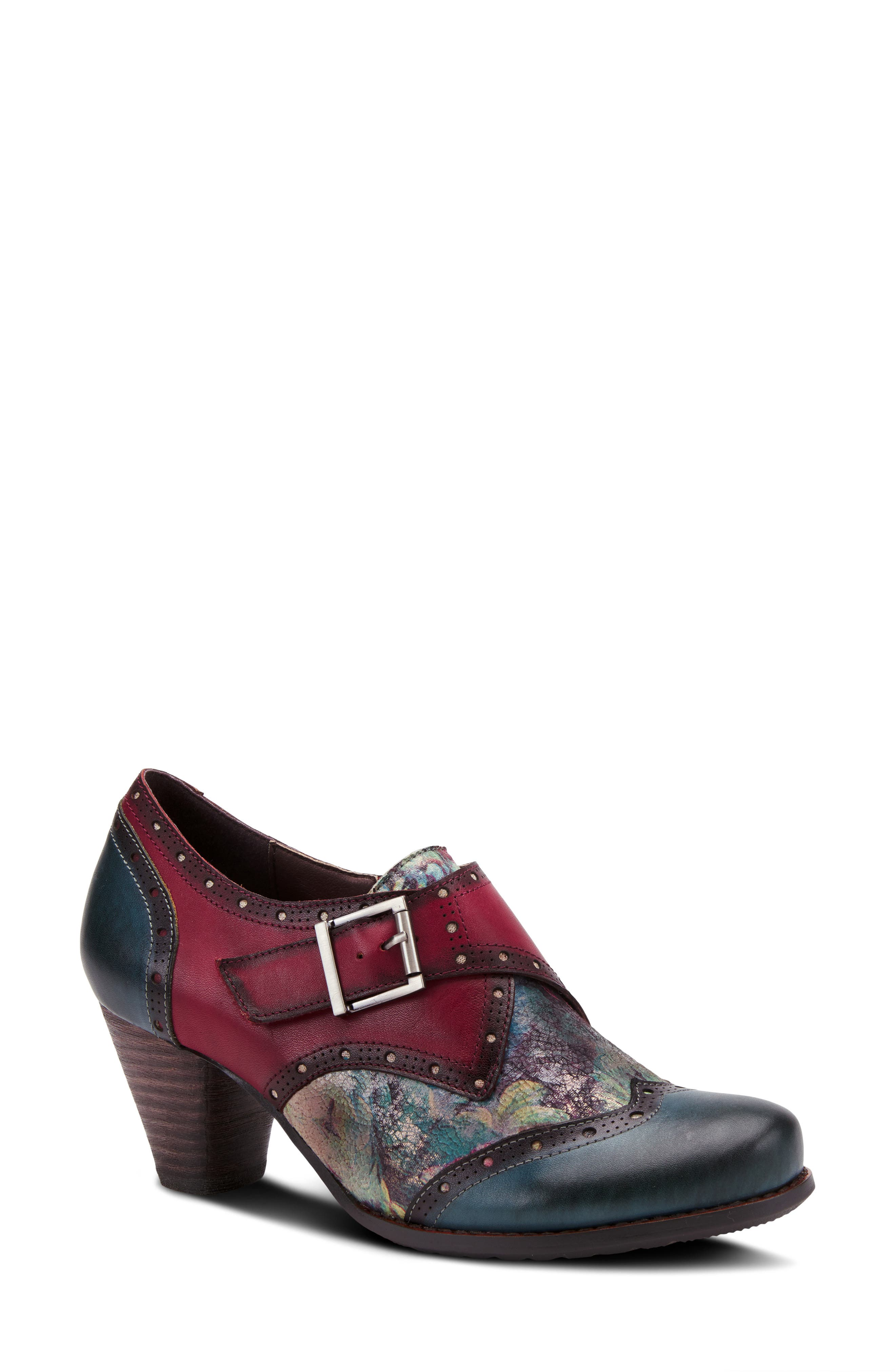 Menswear inspiration meets vintage-chic style on this buckle-embellished pump fashioned from hand-stained leather and grounded by a well-cushioned footbed. Style Name:L\\\'Artiste Therise Pump (Women). Style Number: 6143702. Available in stores.