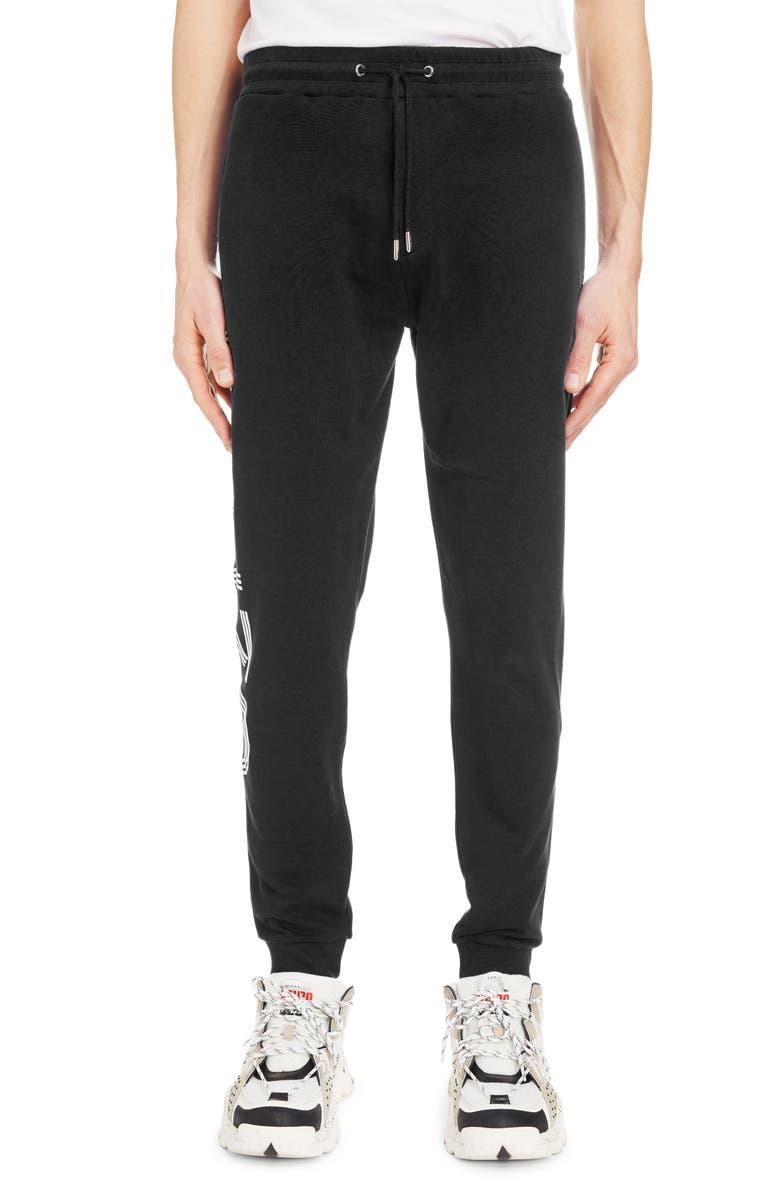 KENZO Logo Graphic Cotton Sweatpants, Main, color, BLACK