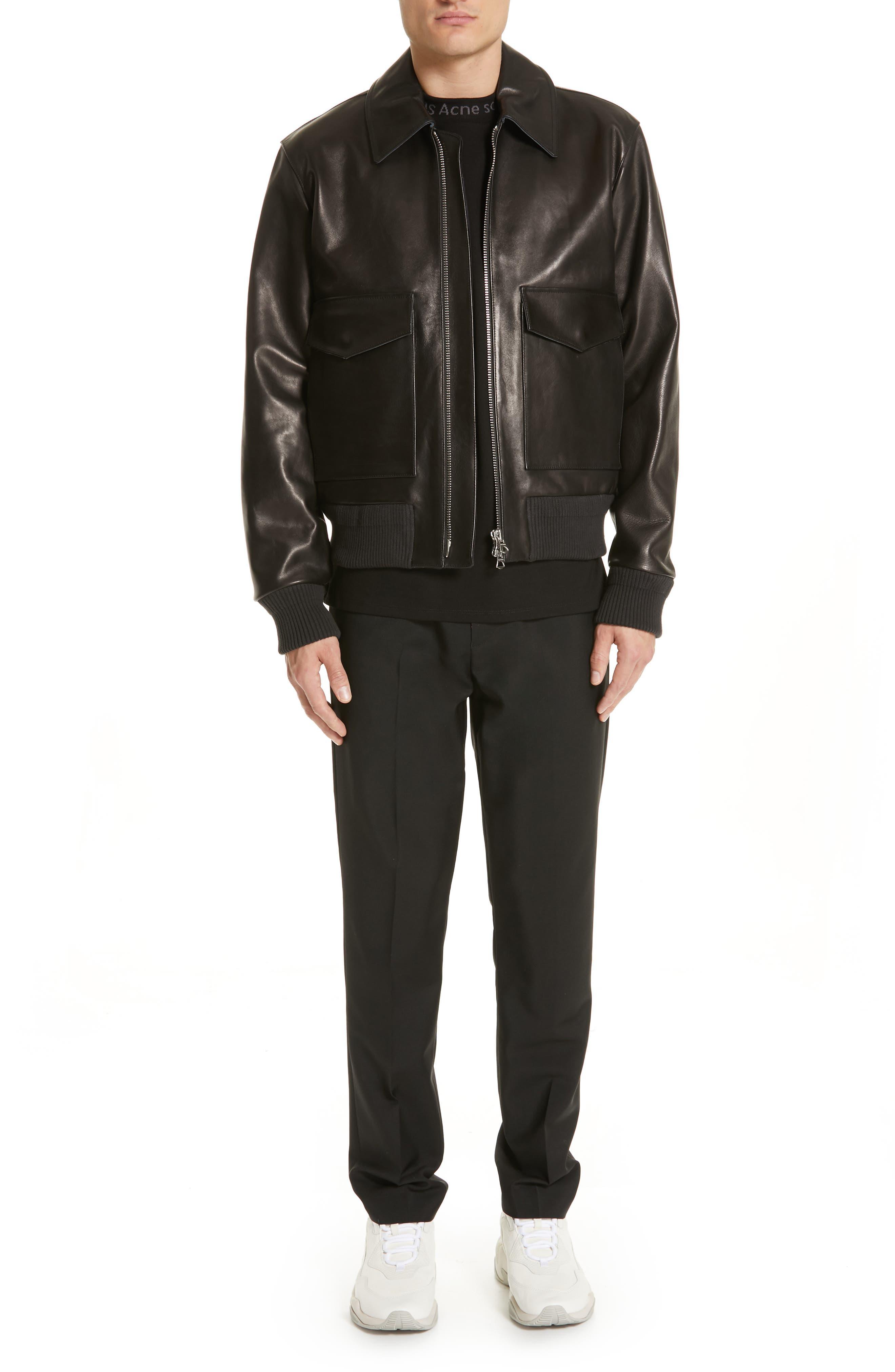 ,                             Lazlo Leather Bomber Jacket,                             Alternate thumbnail 7, color,                             BLACK
