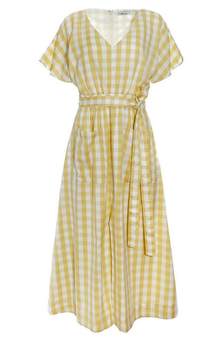 MADEWELL Gingham Check Dolman Sleeve Tie Waist Midi Dress, Main, color, JUNE GINGHAM CRISP PEAR