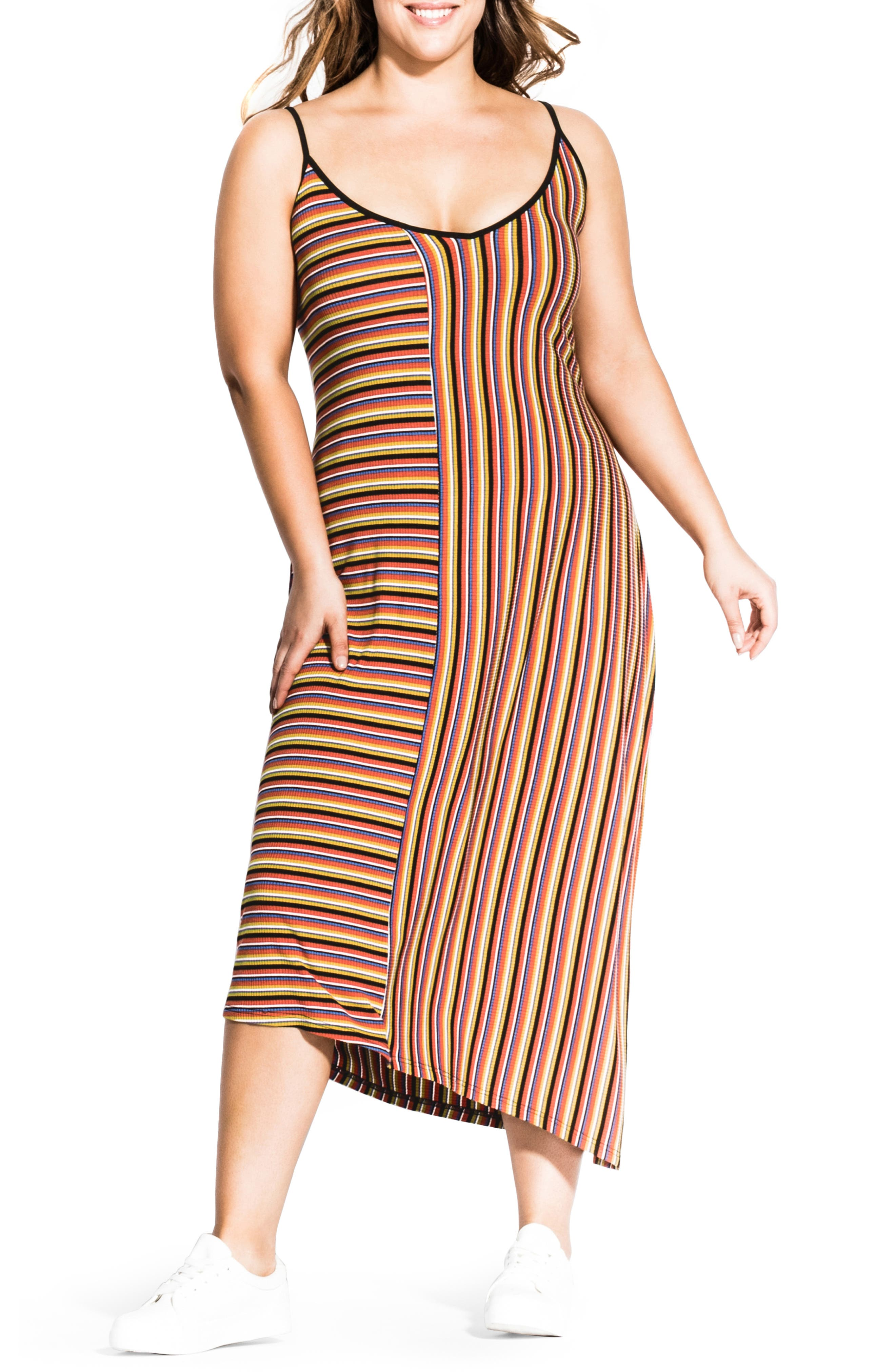 Plus Size City Chic Retro Stripe Asymmetrical Ribbed Midi Dress, Blue