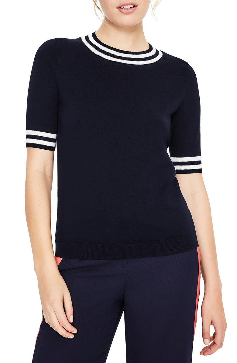 BODEN Multicolor Knit Tee, Main, color, NAVY TIPPED