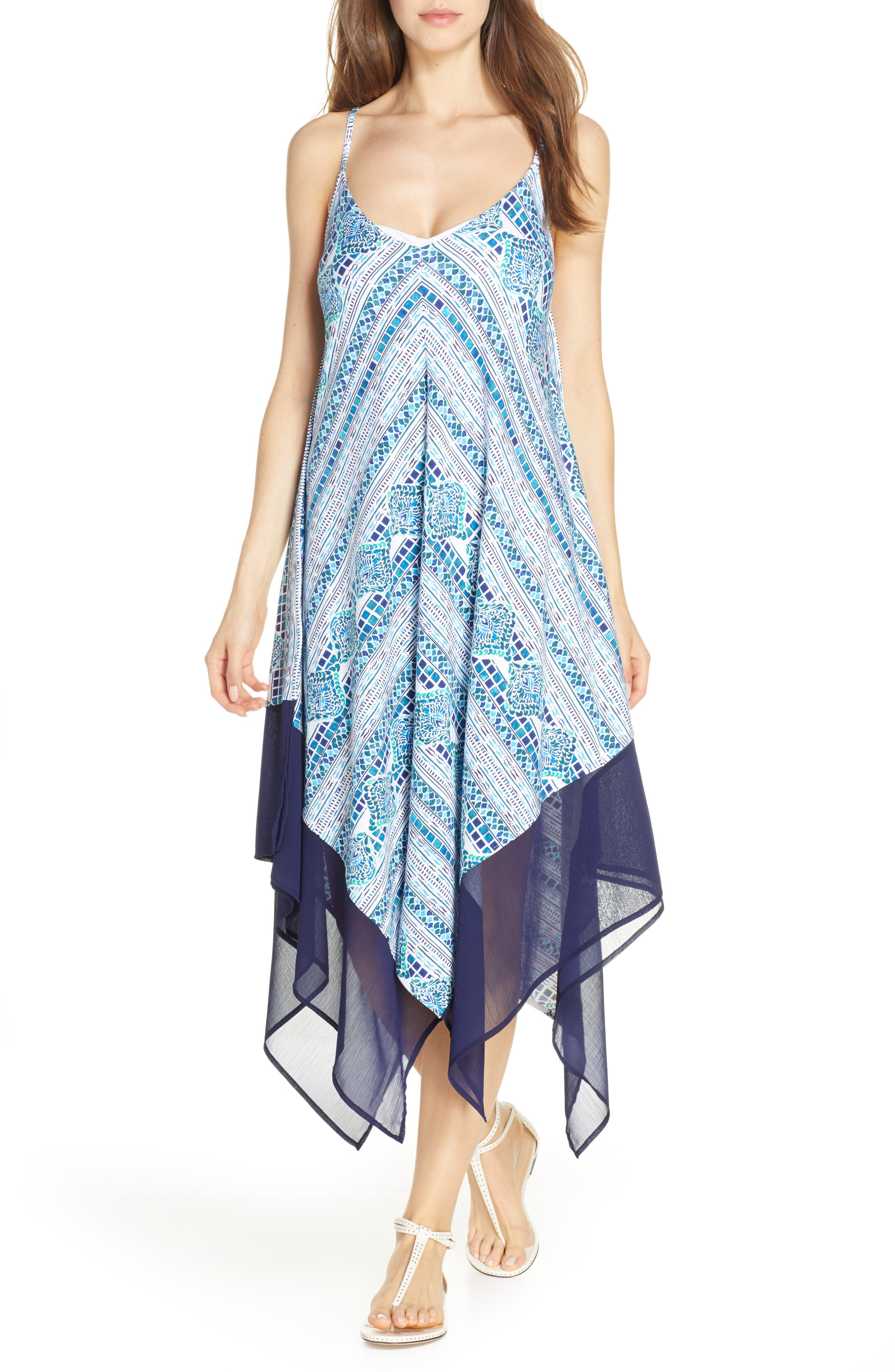 Tommy Bahama Floral Isles Cover-Up Scarf Dress, Blue/green