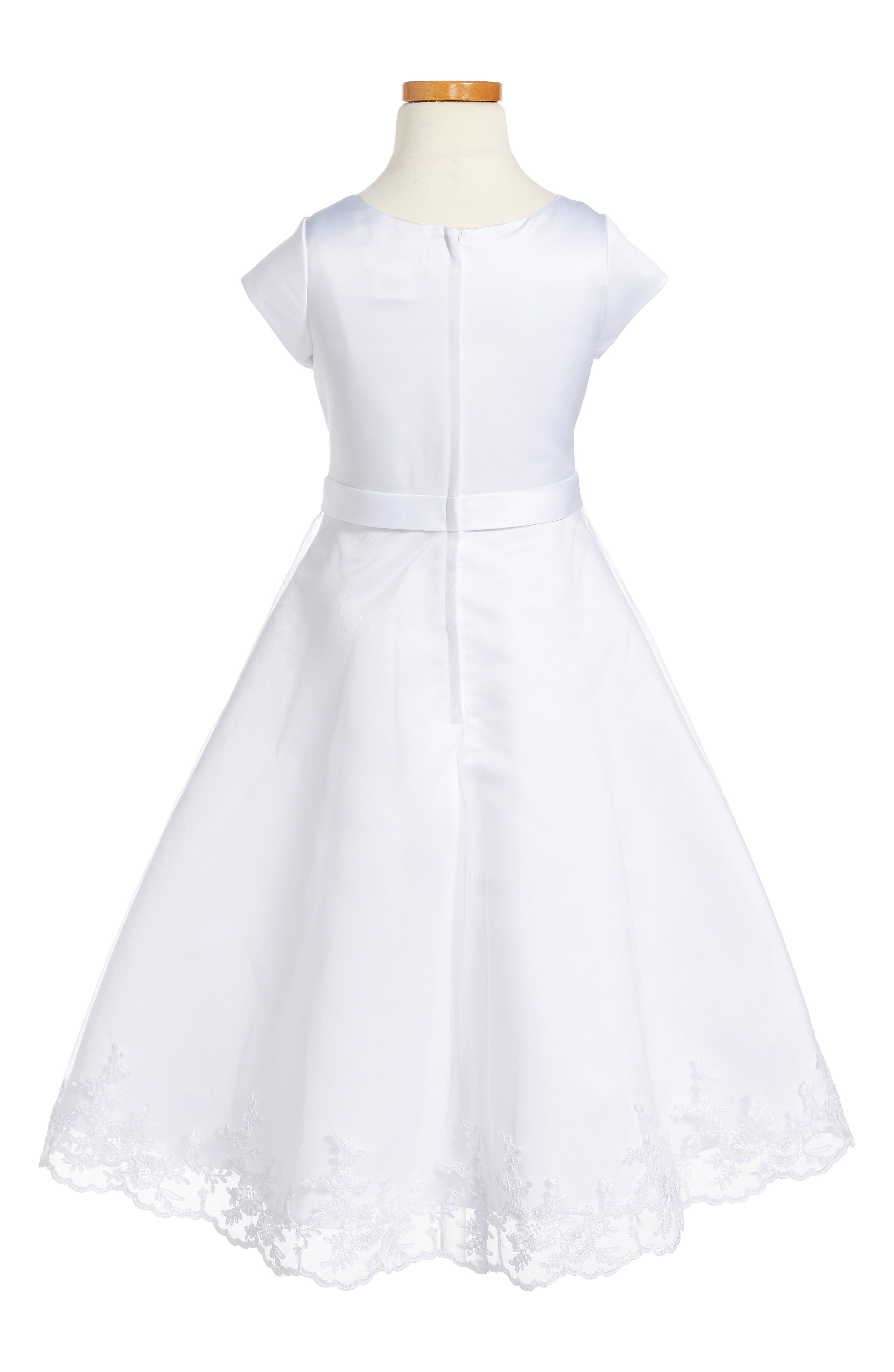 Embroidered A-Line Dress, Main, color, WHITE