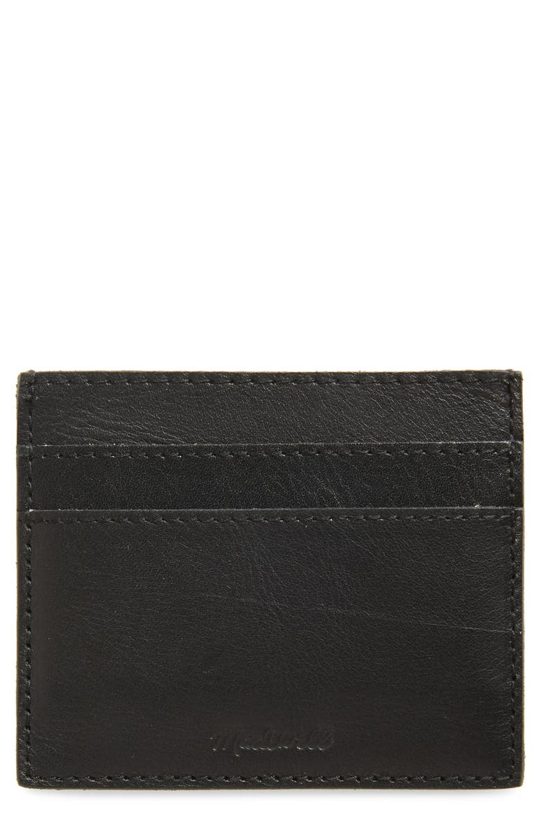 MADEWELL The Leather Card Case, Main, color, TRUE BLACK