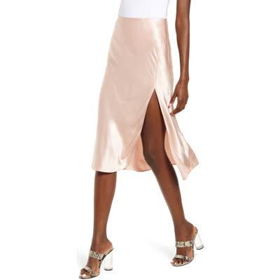 Socialite Bias Cut Satin Skirt, Pink