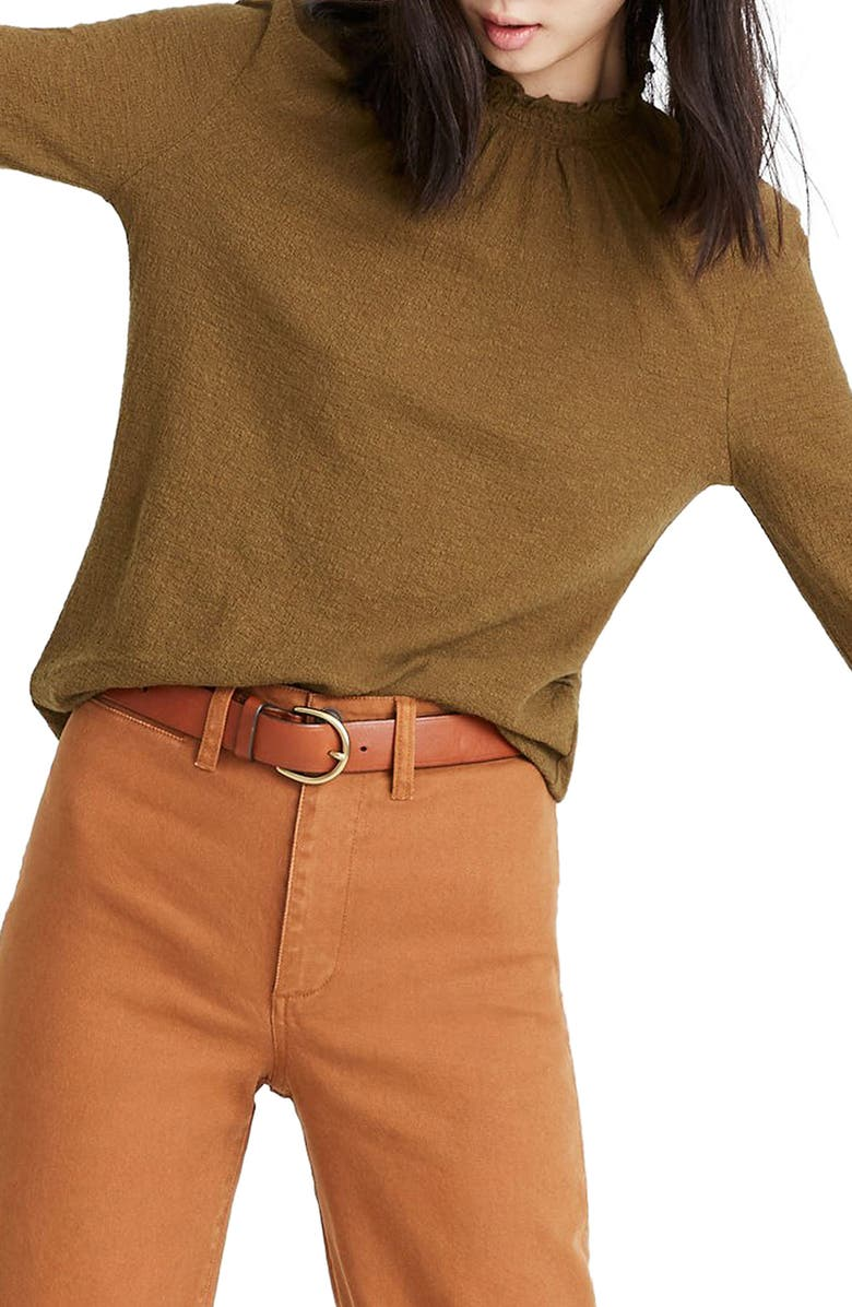 MADEWELL Texture & Thread Ruffled Mock Neck Top, Main, color, 301
