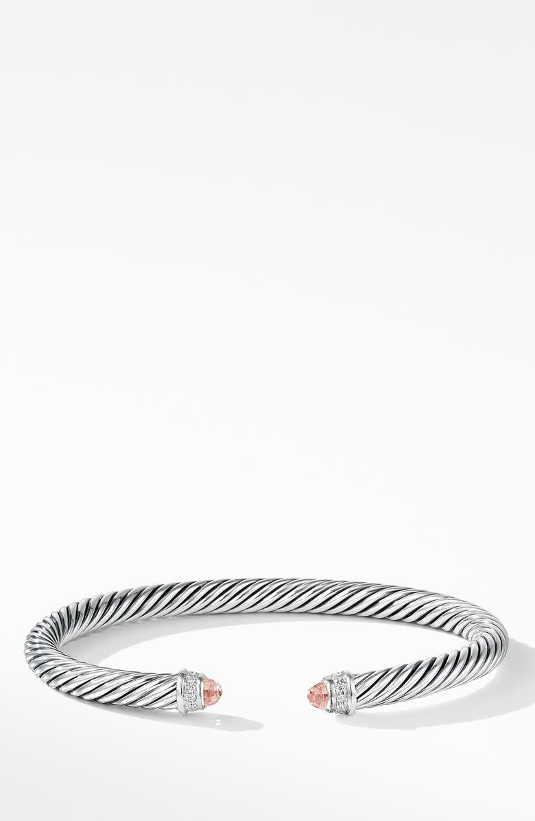 DAVID YURMAN Cable Classics Bracelet with Semiprecious Stones & Diamonds, Main, color, MORGANITE