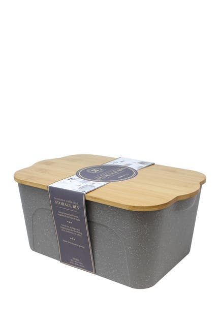 Image of Gourmet Home Heritage Gray Terrazo Small Bamboo Wood Storage Bin