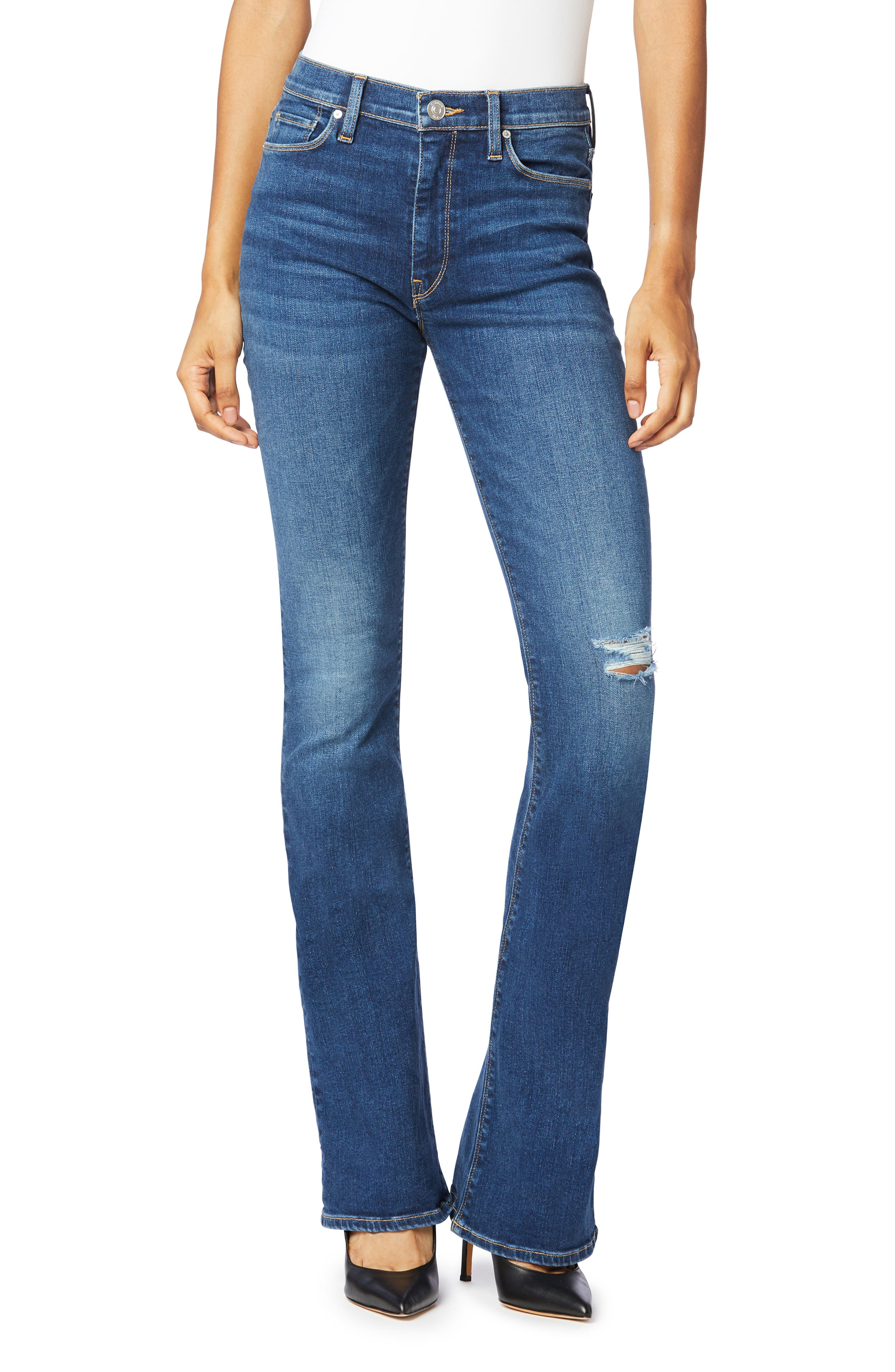 Hudson Womens Blue Denim Mid-Rise Dark Wash Bootcut Jeans 24 BHFO 5708