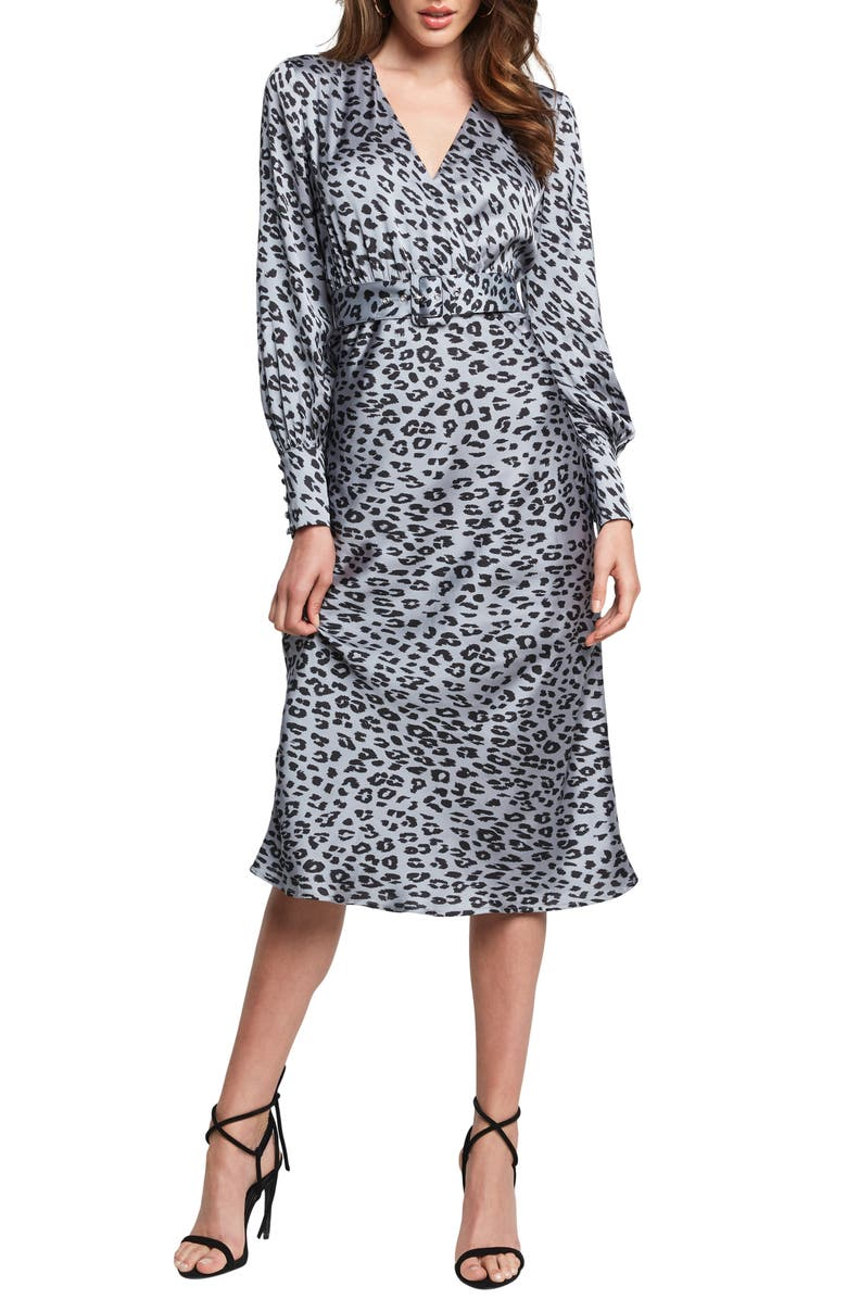BARDOT Sandiego Print Long Sleeve Midi Dress, Main, color, SILVER LEOPARD