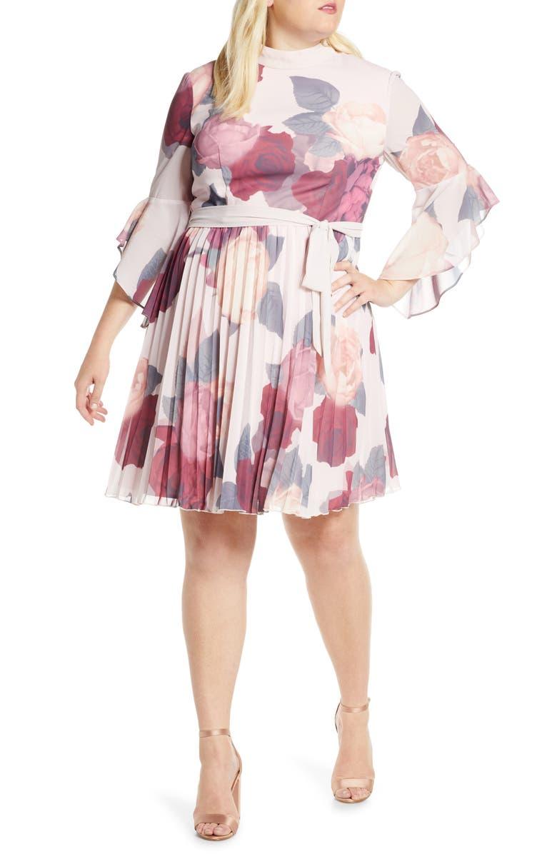CHI CHI LONDON Curve Florentia Floral Print Cocktail Dress, Main, color, MULTI