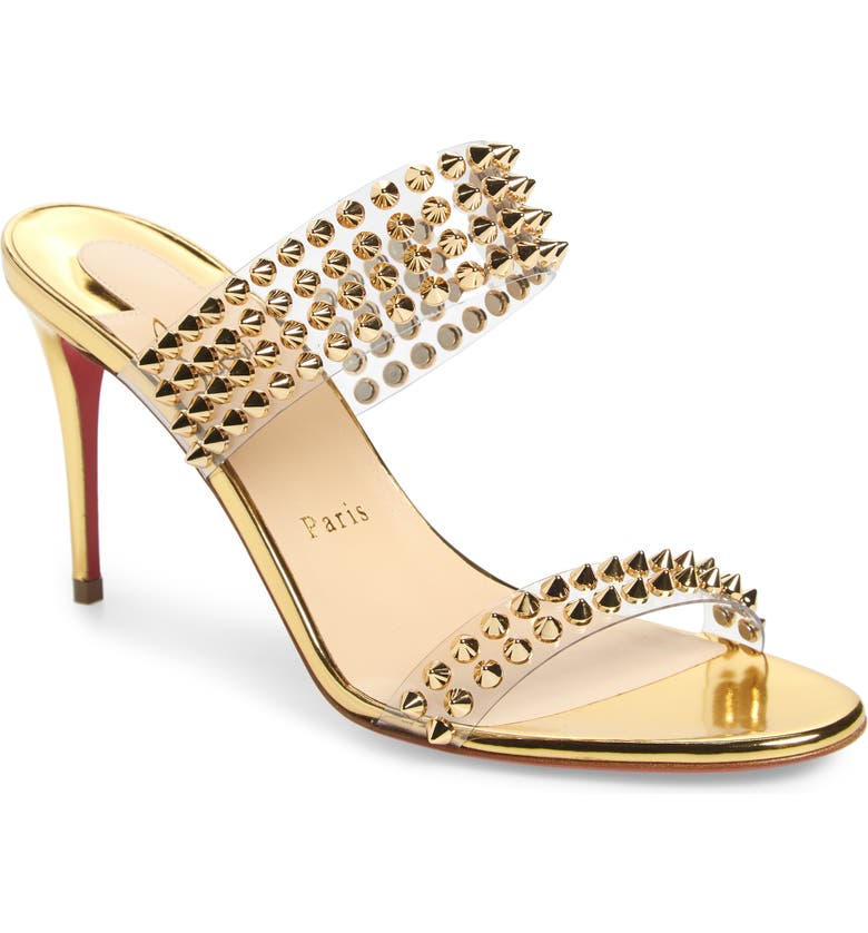CHRISTIAN LOUBOUTIN Spikes Only Slide Sandal, Main, color, GOLD