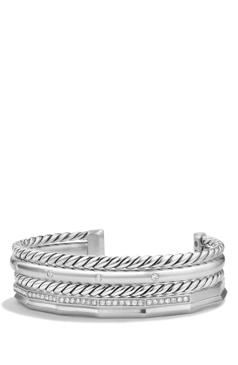 DAVID YURMAN Stax Cuff Bracelet with Diamonds, Main, color, SILVER