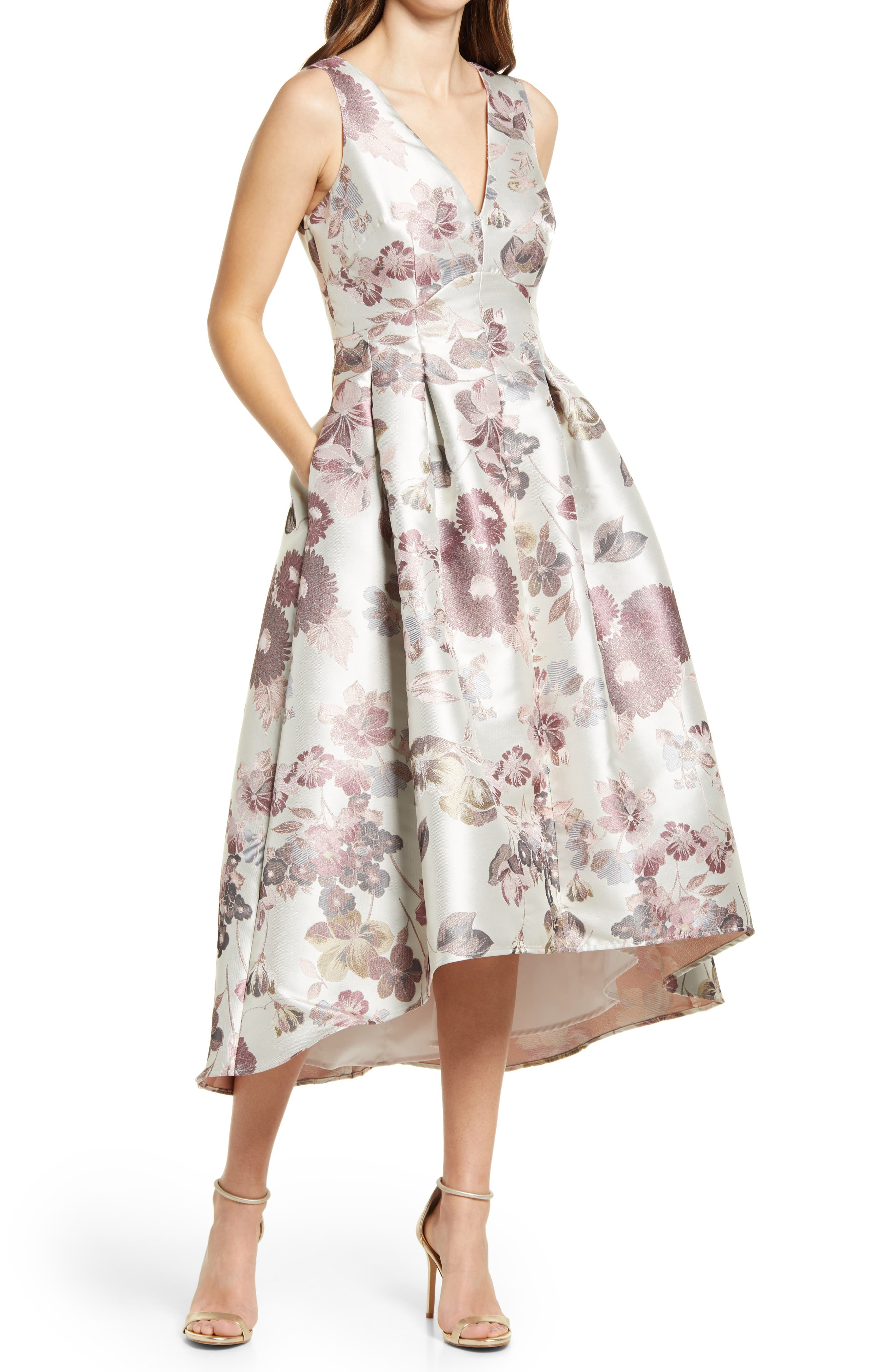 Metallic Floral Jacquard High/low Dress