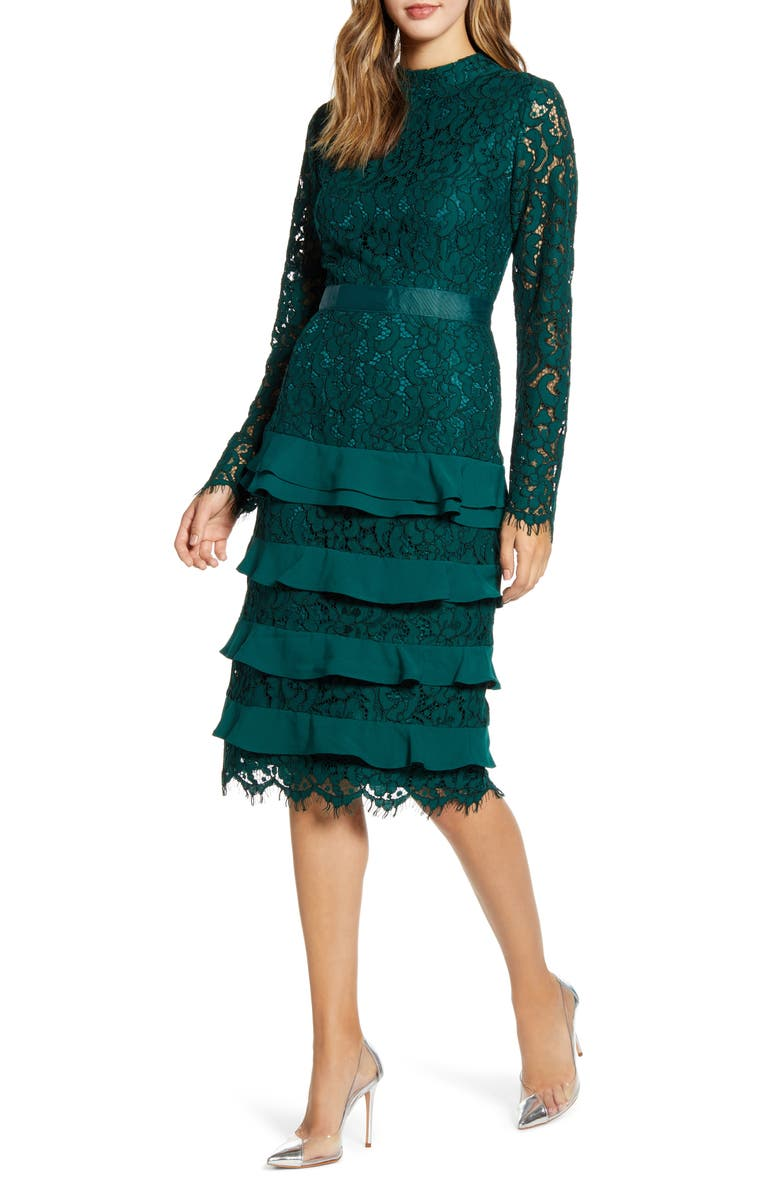 RACHEL PARCELL Long Sleeve Lace Dress, Main, color, 301