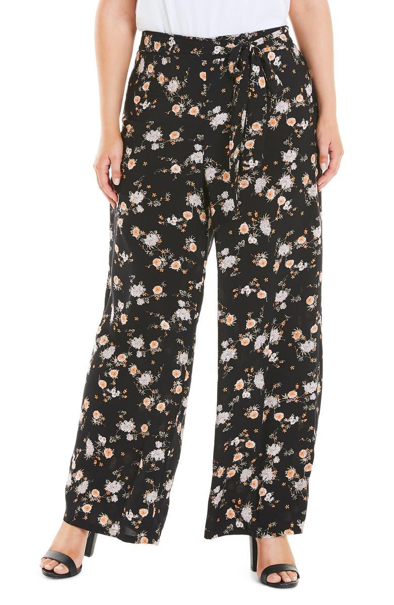 ESTELLE Daisy Drawstring Waist Wide Leg Pants, Main, color, PRINT