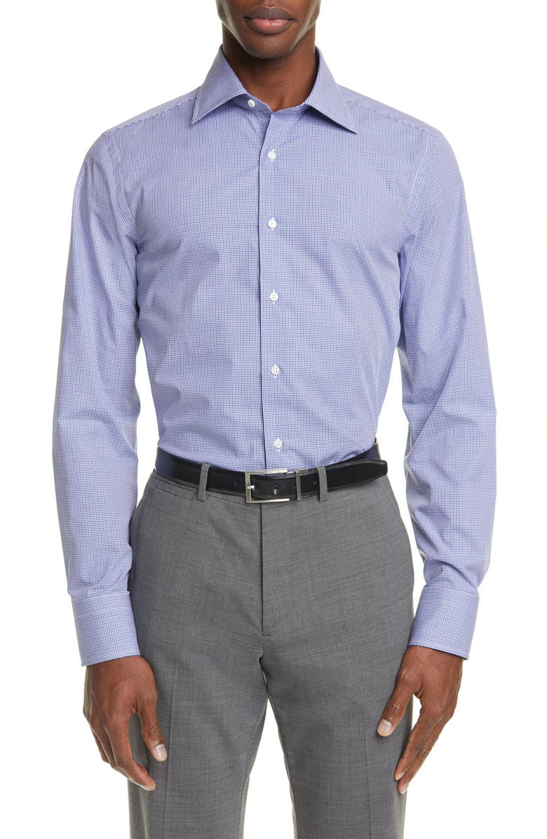 CANALI Regular Fit Check Dress Shirt, Main, color, BLUE