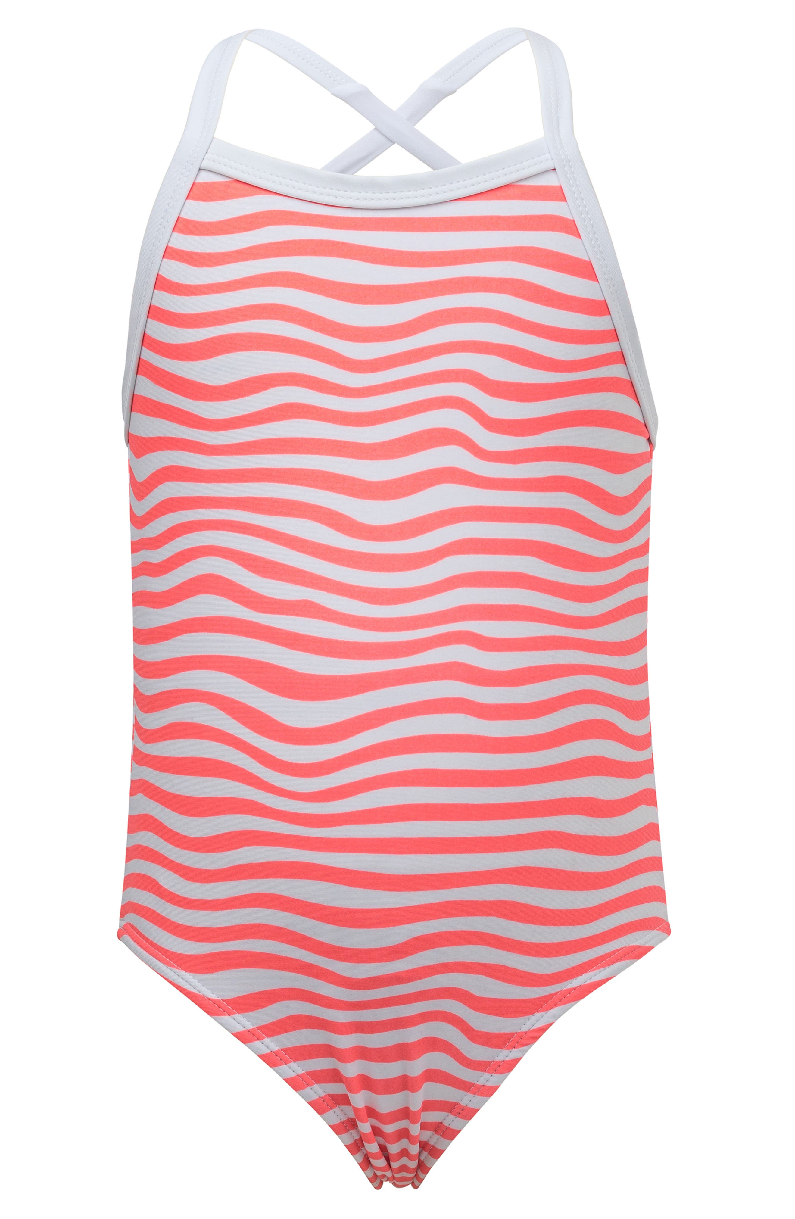 ,                             Orange Crush Stripe One-Piece Swimsuit,                             Main thumbnail 1, color,                             CORAL/ WHITE STRIPES