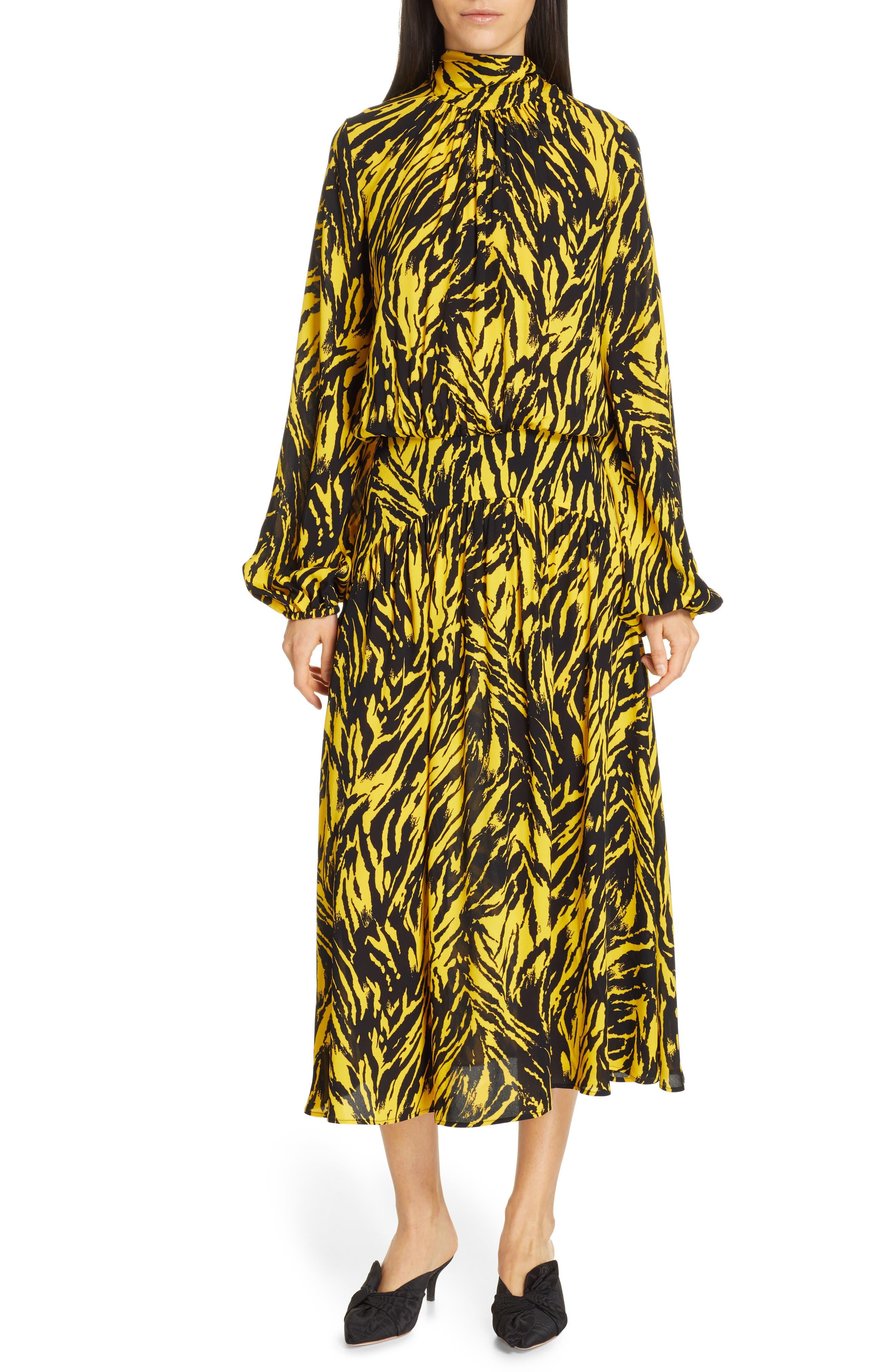 N°21 Dresses Zebra Print Long Sleeve Midi Dress