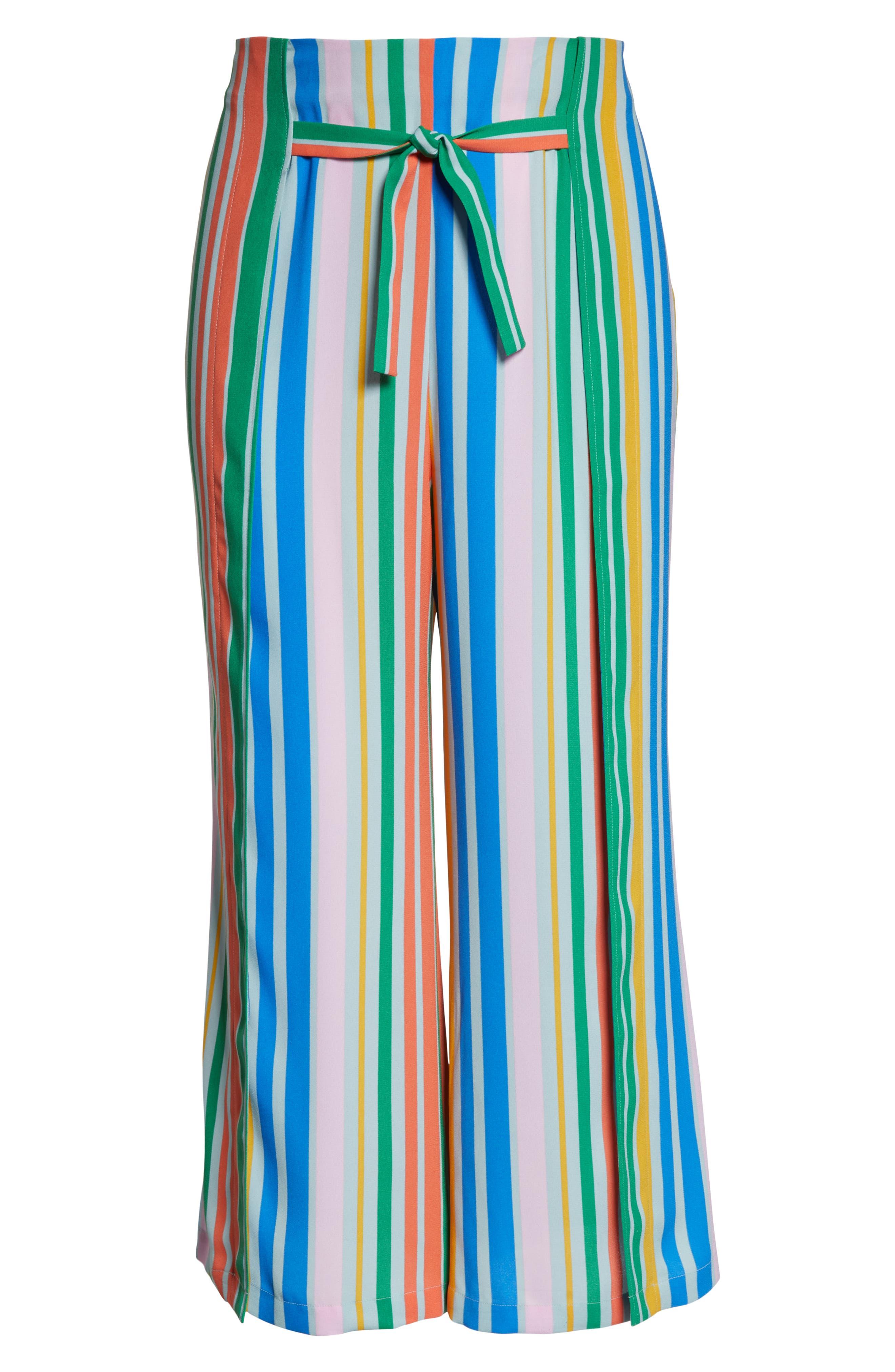 ,                             Tie Front Wide Leg Pants,                             Alternate thumbnail 13, color,                             BLUE FRENCH MULTI STRIPE