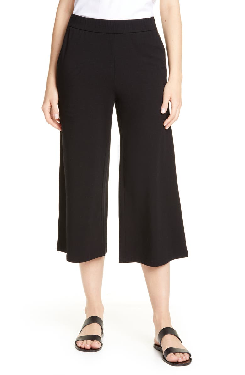 EILEEN FISHER Organic Cotton Straight Leg Crop Pants, Main, color, BLACK