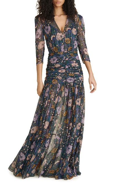 Veronica Beard MILJA FLORAL METALLIC THREAD SILK BLEND DRESS