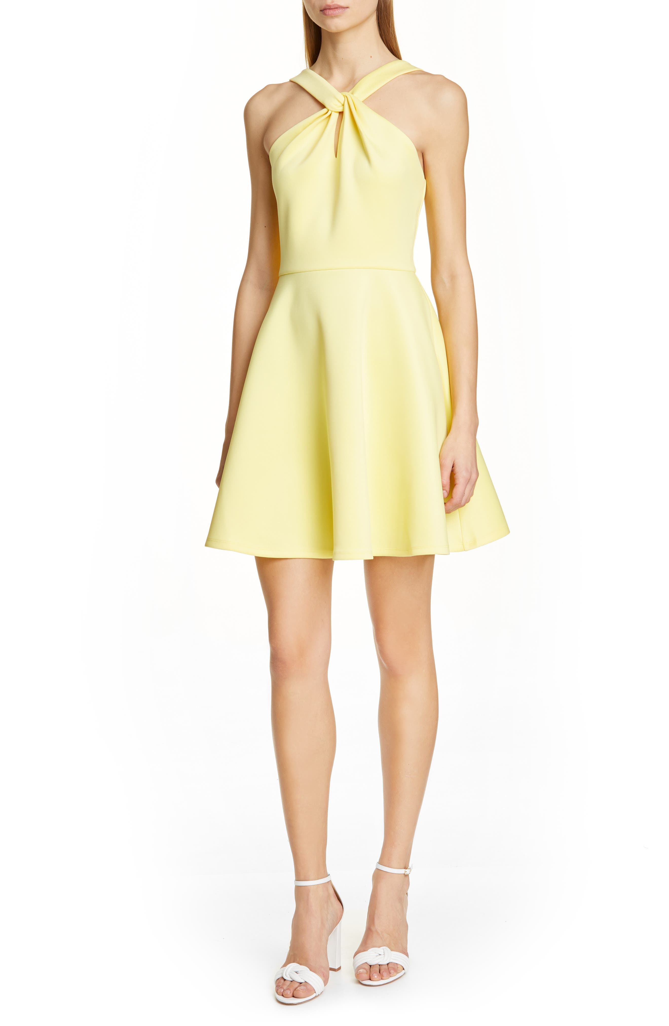 Ted Baker London Freeda Twist Neck Skater Dress, Yellow