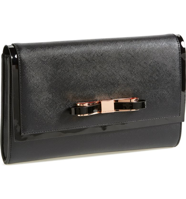 TED BAKER LONDON 'Bow' Clutch, Main, color, 001