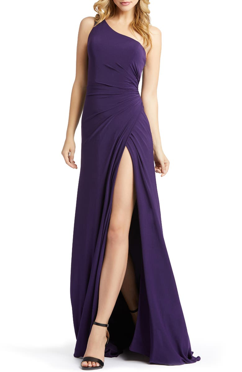 MAC DUGGAL One-Shoulder Jersey Gown, Main, color, EGGPLANT