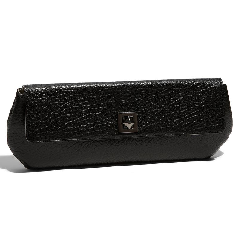 NORDSTROM Pyramid Turnlock Leather Clutch, Main, color, 001