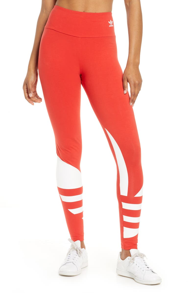 ADIDAS ORIGINALS Large Logo Tights, Main, color, LUSH RED/ WHITE